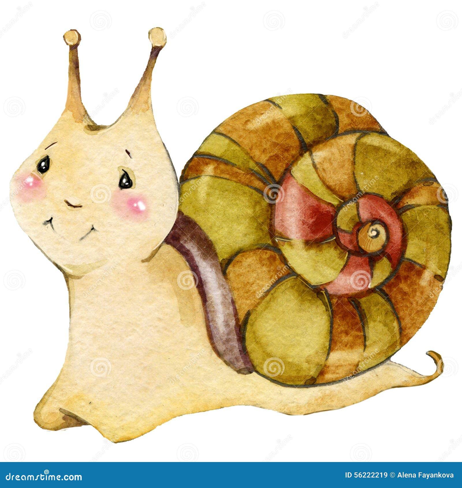 Απεικόνιση watercolor σαλιγκαριών εντόμων κινούμενων σχεδίων