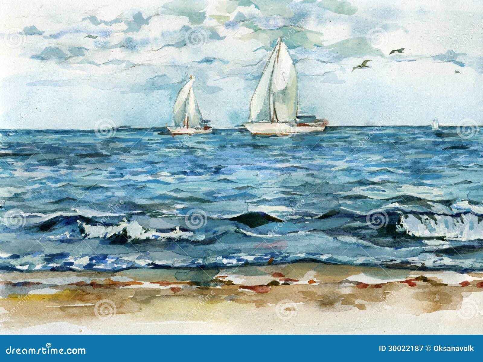 Γιοτ driftind στην ήρεμη μπλε απεικόνιση watercolor θάλασσας