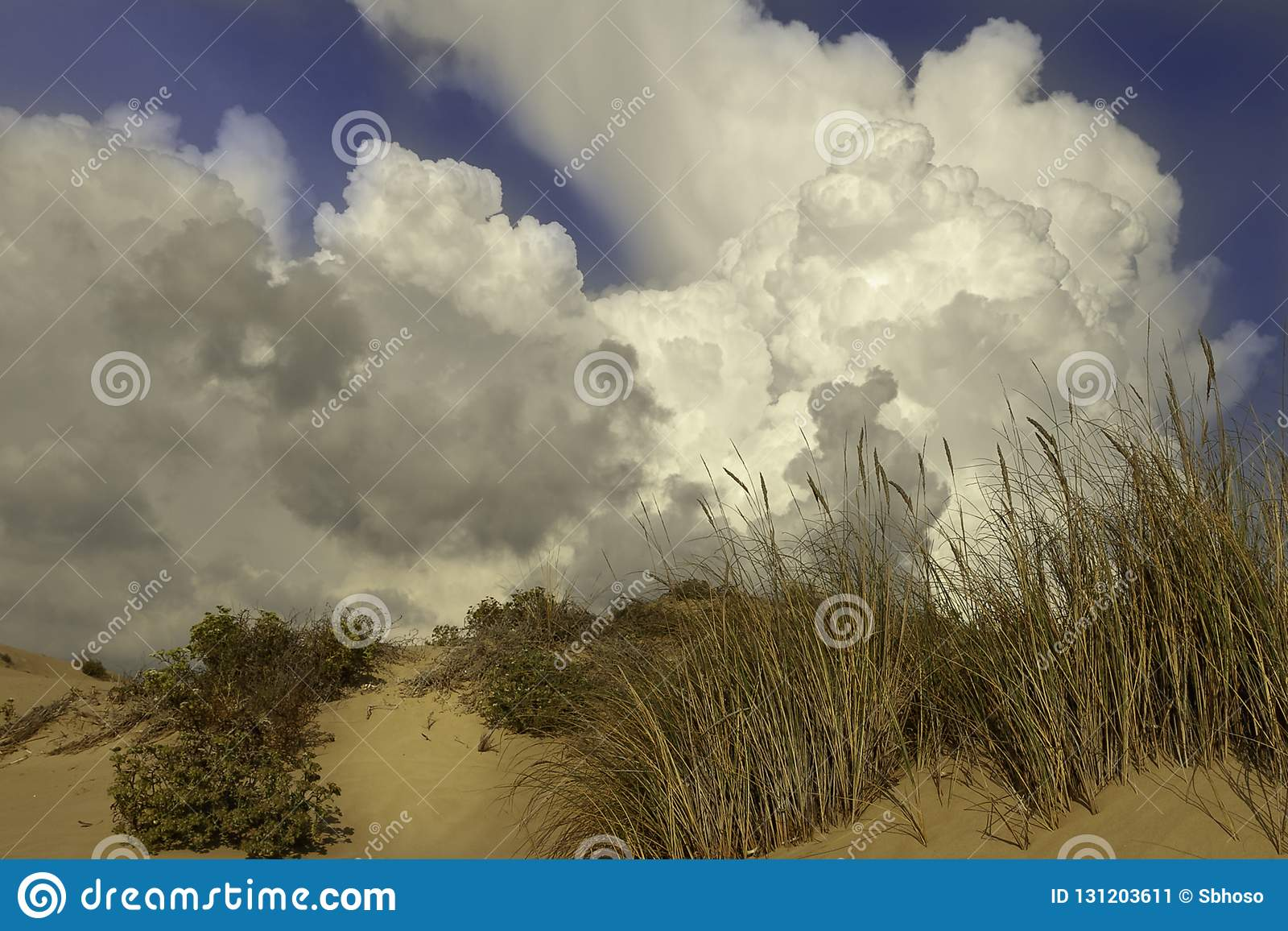 Απειλητικά σύννεφα πέρα από τα καθαρά sandunes στην παραλία Sampieri στη Σικελία σε θερινό θυελλώδες ημερησίως