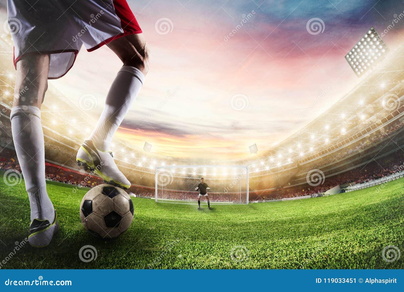 Απεργός ποδοσφαίρου έτοιμος στα λακτίσματα η σφαίρα μπροστά από τον τερματοφύλακας τρισδιάστατη απόδοση