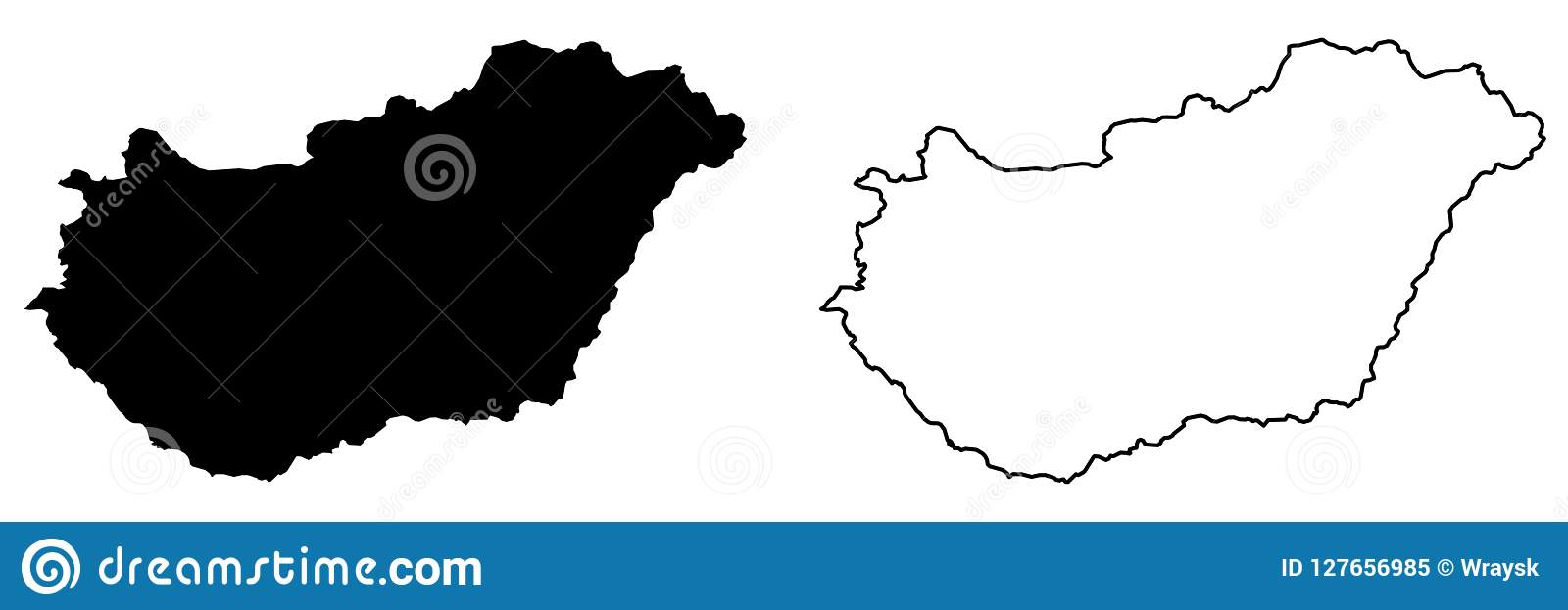 Απλός μόνο αιχμηρός χάρτης γωνιών του διανυσματικού σχεδίου της Ουγγαρίας Merca