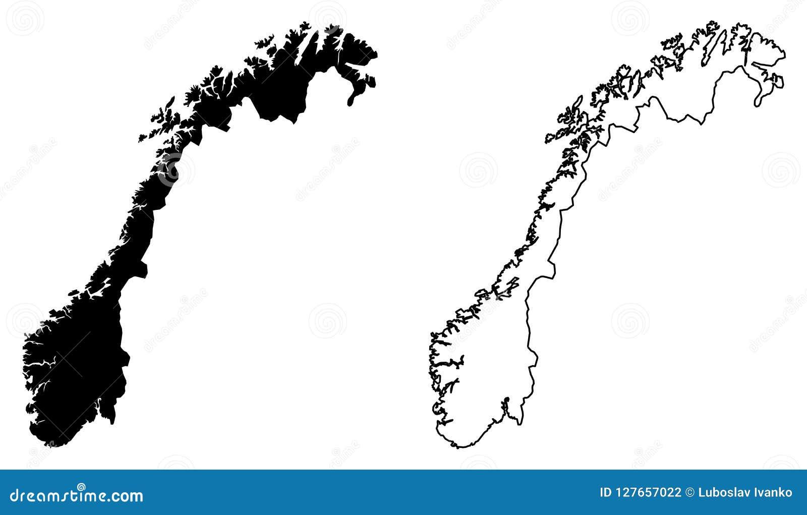 Απλός μόνο αιχμηρός χάρτης γωνιών του διανυσματικού σχεδίου της Νορβηγίας Mercat