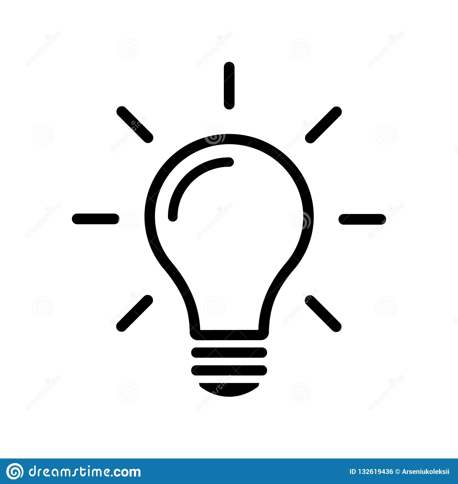 Απλό εικονίδιο γραμμών λαμπών φωτός που απομονώνεται στο υπόβαθρο Έννοια σημαδιών ιδέας