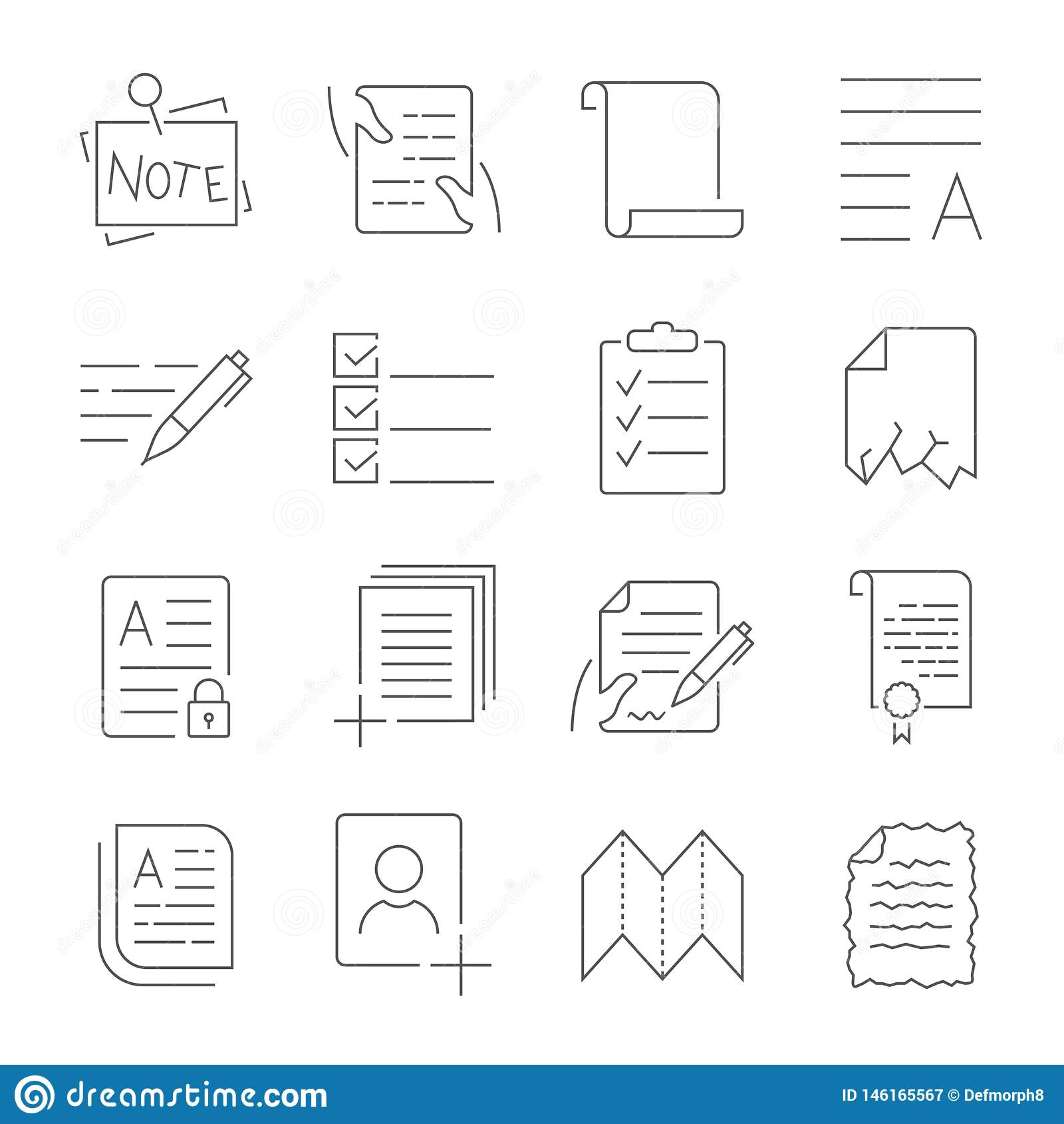 Απλό σύνολο εικονιδίων διοικητικών διανυσματικών γραμμών ροής εγγράφων Περιέχει τέτοια εικονίδια όπως το τσαλακωμένο χαλασμένο έγ