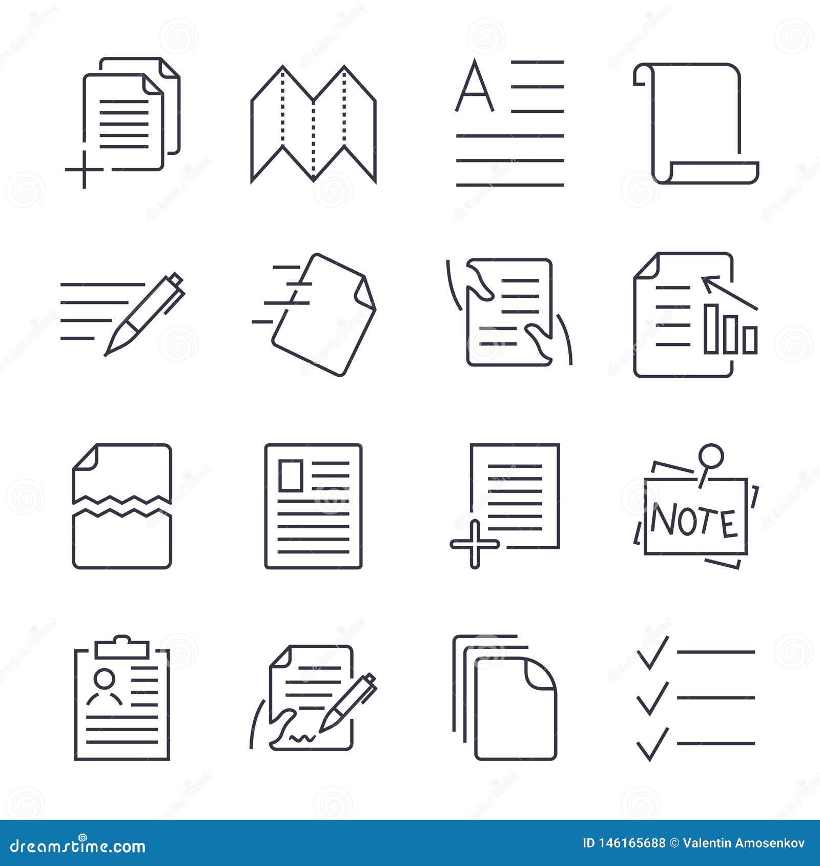 Απλό σύνολο εικονιδίων εγγράφων Περιέχει τέτοια εικονίδια όπως η επεξεργασία κατά δεσμίδες, νομικά έγγραφα, περιοχή αποκομμάτων,
