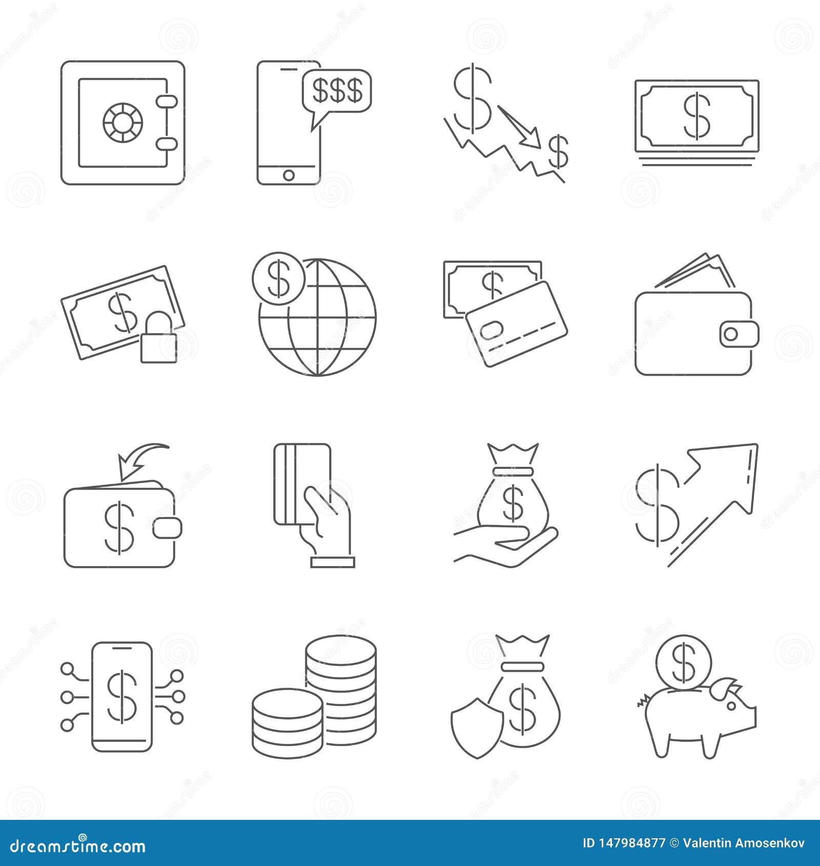 Απλό σύνολο εικονιδίων σχετικό με τα χρήματα Ένα σύνολο δέκα έξι συμβόλων Λεπτό διανυσματικό εικονίδιο γραμμών καθορισμένο - νόμι