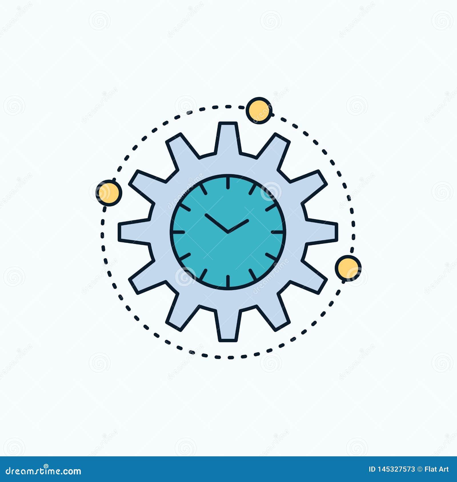 Αποδοτικότητα, διαχείριση, επεξεργασία, παραγωγικότητα, επίπεδο εικονίδιο προγράμματος πράσινα και κίτρινα σημάδι και σύμβολα για