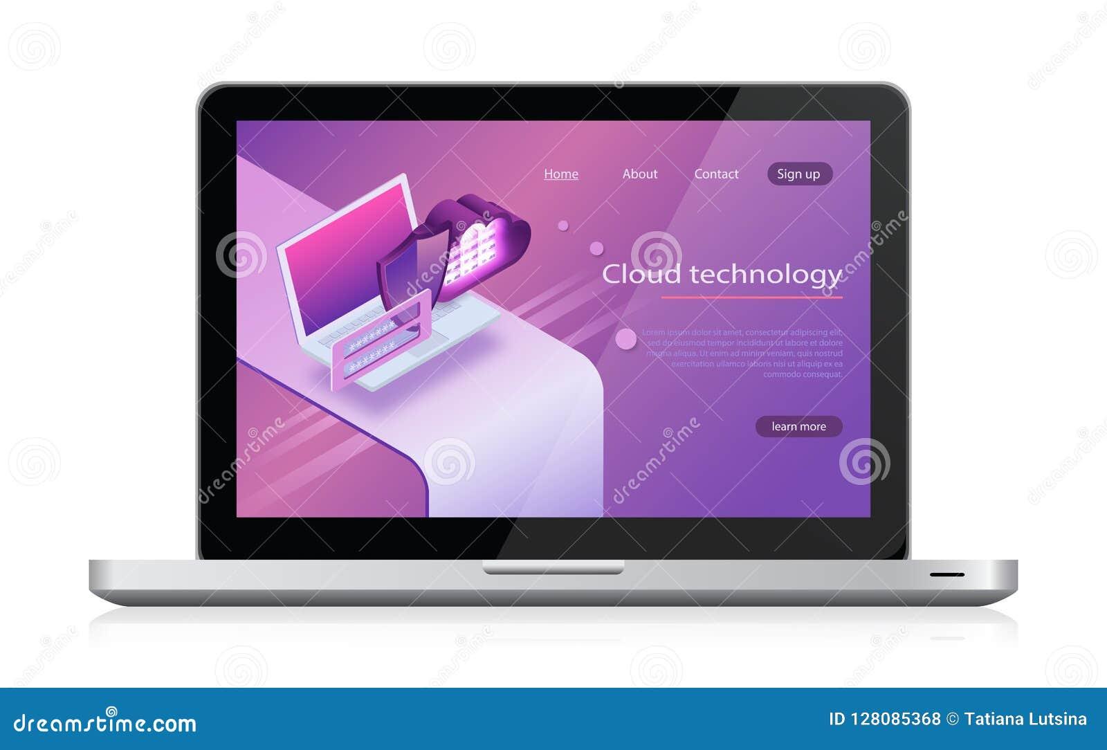 Αποθήκευση σύννεφων εννοιών Isometric διάνυσμα, φιλοξενία Ιστού και δωμάτιο κεντρικών υπολογιστών κεντρικοί υπολογιστές lap-top κ