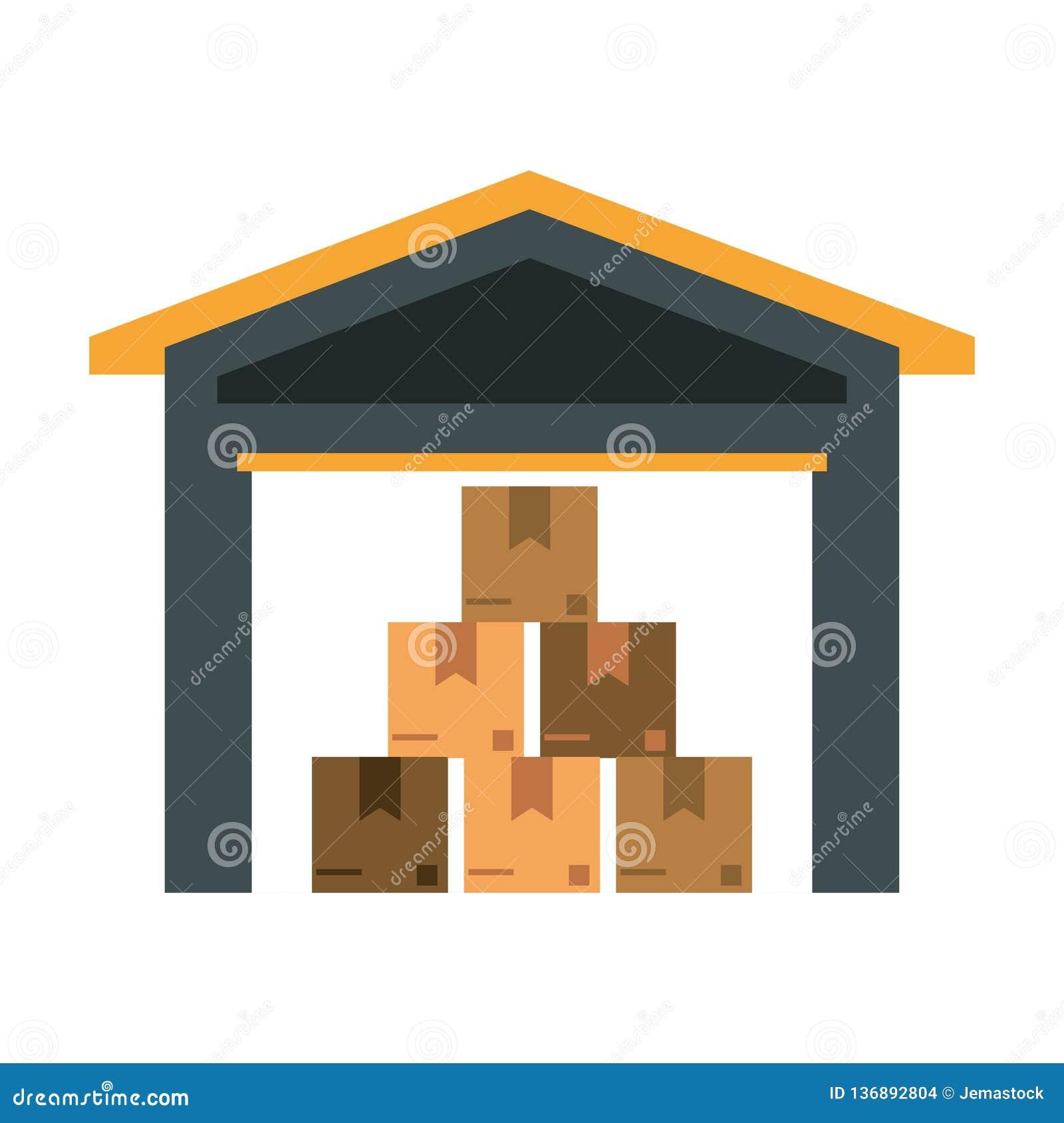 Αποθήκη εμπορευμάτων με τα κιβώτια μέσα