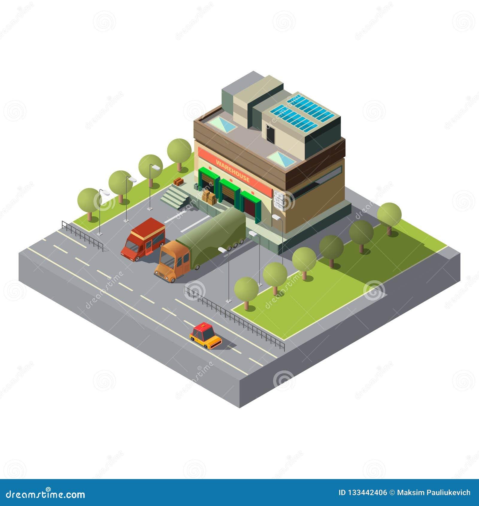 Αποθήκη εμπορευμάτων με το τρισδιάστατο isometric διάνυσμα αυτοκινήτων φορτίου