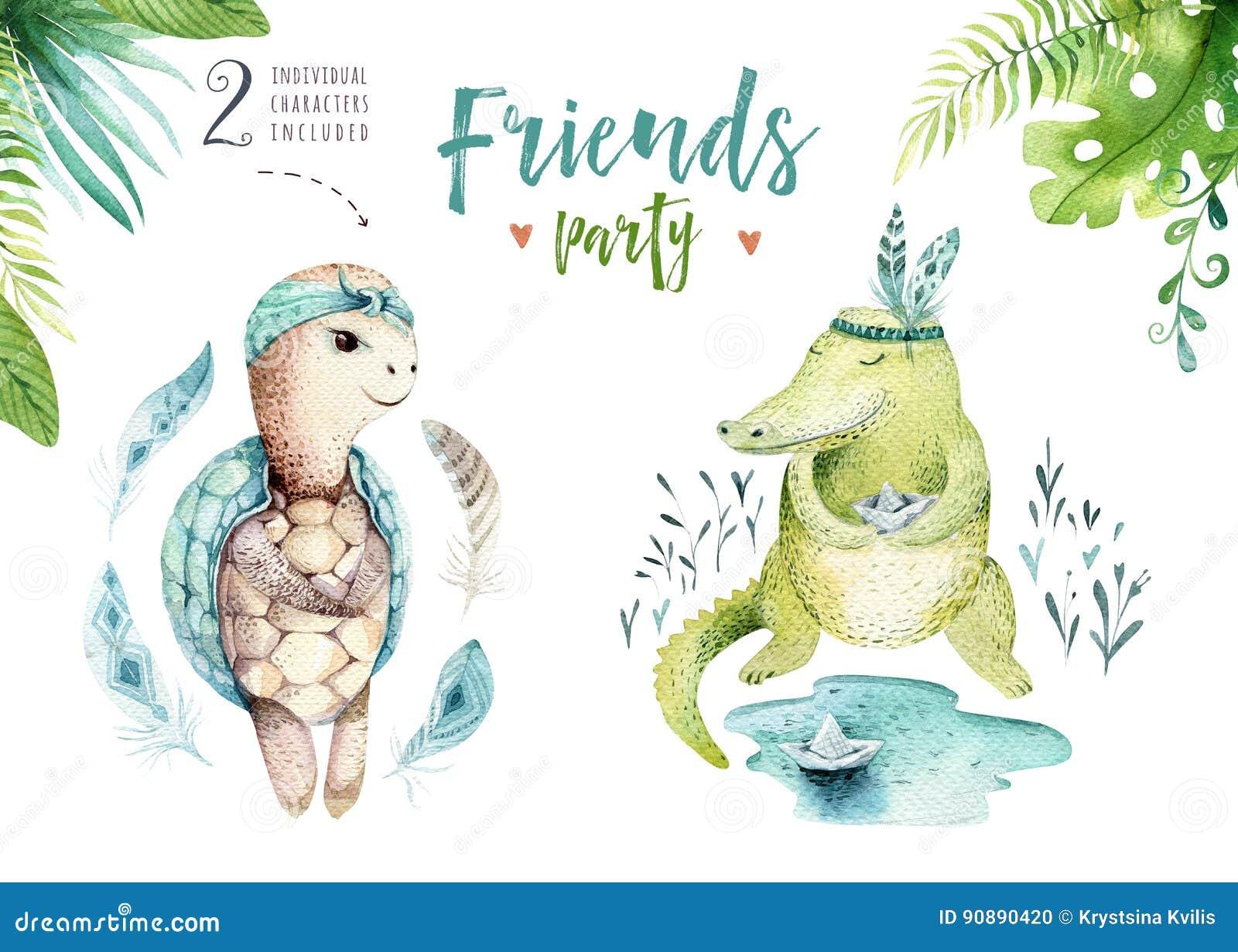 Απομονωμένη βρεφικός σταθμός απεικόνιση ζώων μωρών για τα παιδιά Τροπικό σχέδιο boho Watercolor, χαριτωμένη τροπική χελώνα παιδιώ