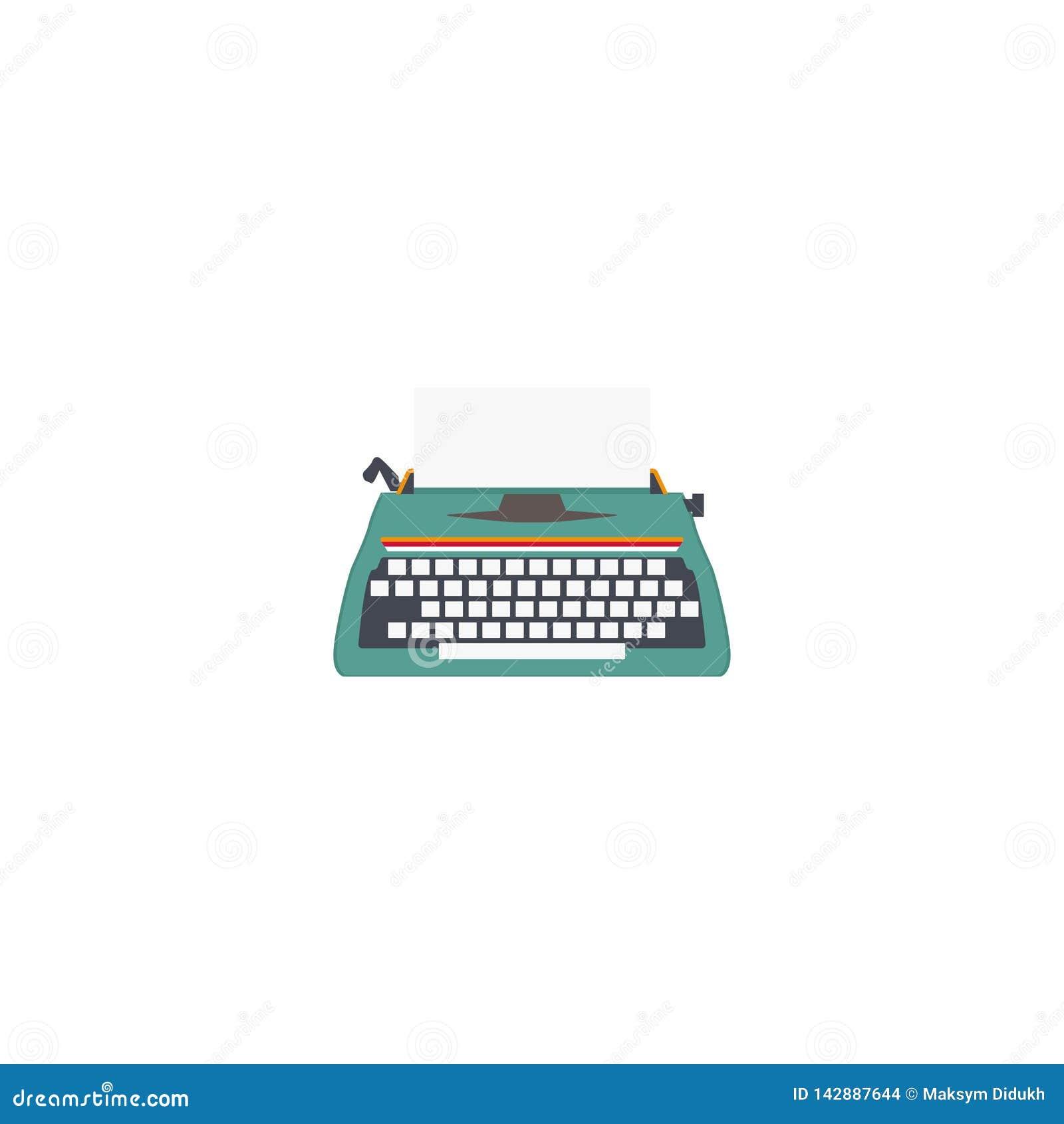 Απομονωμένη γραφομηχανή Αναδρομικός εξοπλισμός για τους συγγραφείς και τους δημοσιογράφους Άσπρη ανασκόπηση επίσης corel σύρετε τ