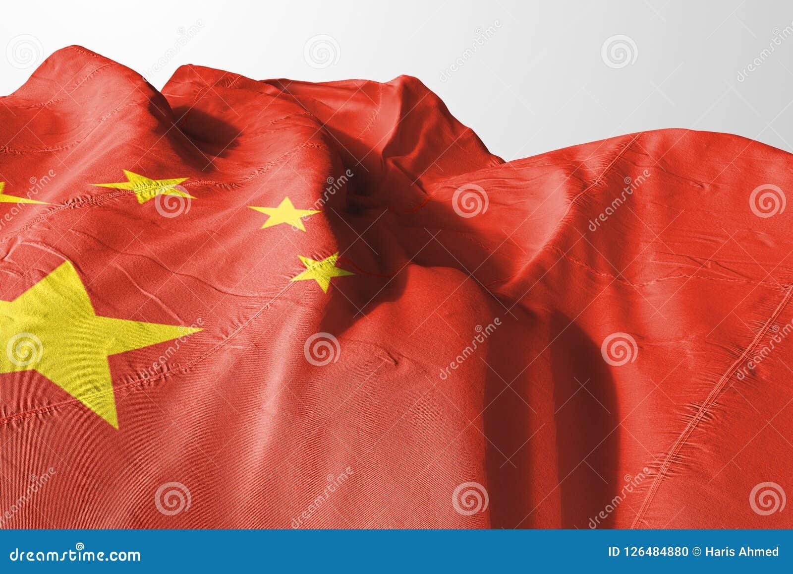 Απομονωμένη σημαία της Κίνας την τρισδιάστατη ρεαλιστική σημαία της Κίνας που δίνεται που κυματίζει