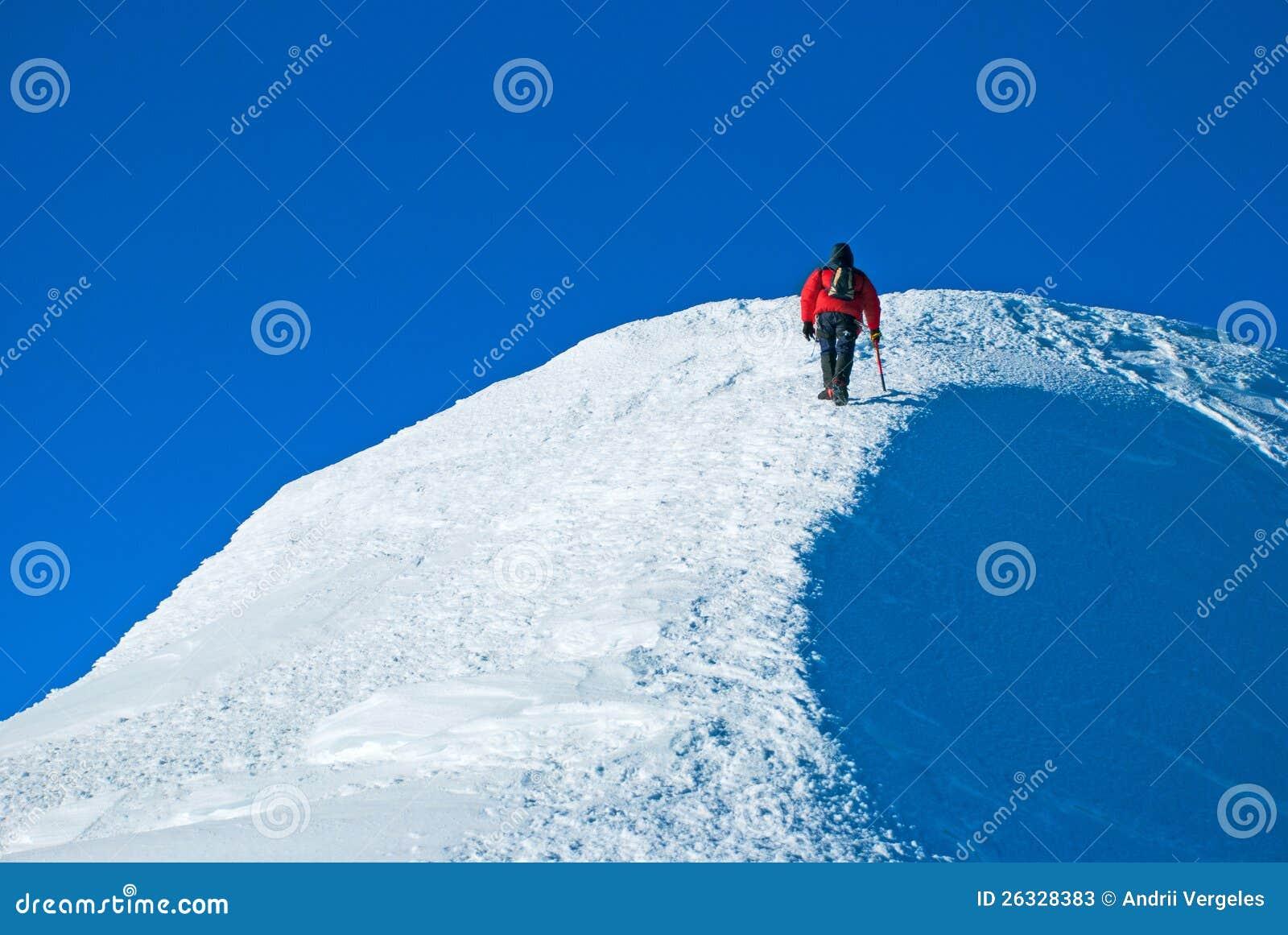 Απομονωμένος αρσενικός ορειβάτης βουνών στην κορυφή