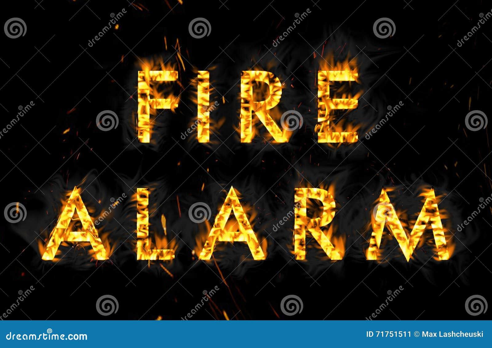 απομονωμένος καπνός μονοπατιών πυρκαγιάς ανιχνευτών ψαλιδίσματος συναγερμών εικόνα Η λέξη στις φλόγες στο μαύρο υπόβαθρο