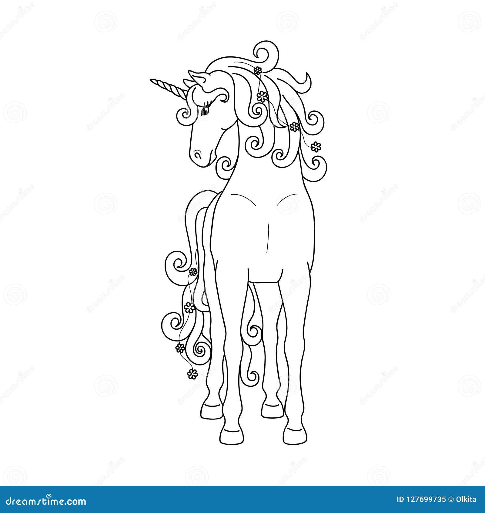 Απομονωμένος μαύρος μόνιμος μονόκερος περιλήψεων στο άσπρο υπόβαθρο Μπροστινή όψη Γραμμές καμπυλών Σελίδα του χρωματισμού του βιβ