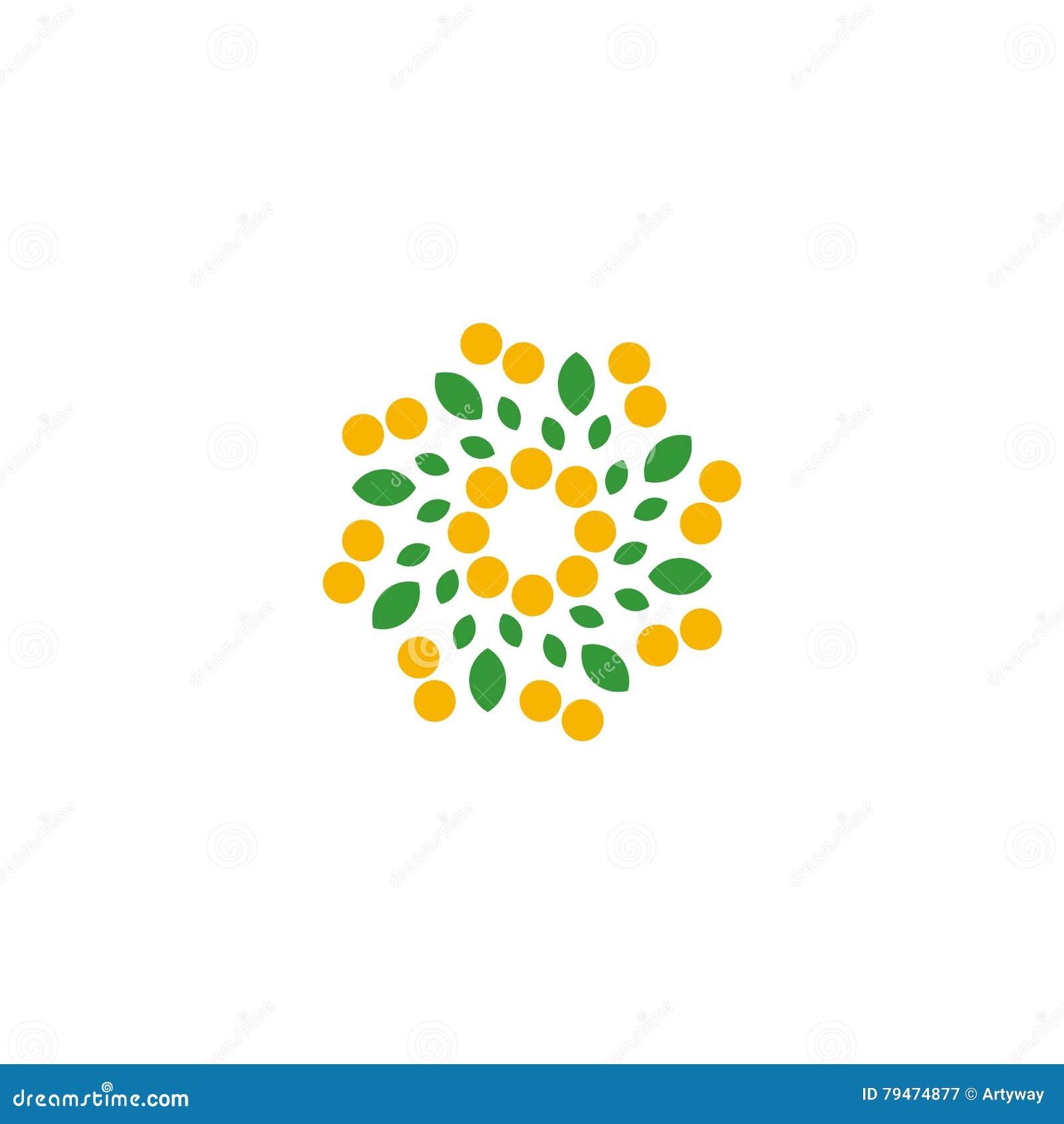 Απομονωμένο αφηρημένο ζωηρόχρωμο λουλούδι στο άσπρο λογότυπο υποβάθρου Διαστιγμένα floral πέταλα logotype Φυσικό σημάδι στοιχείων