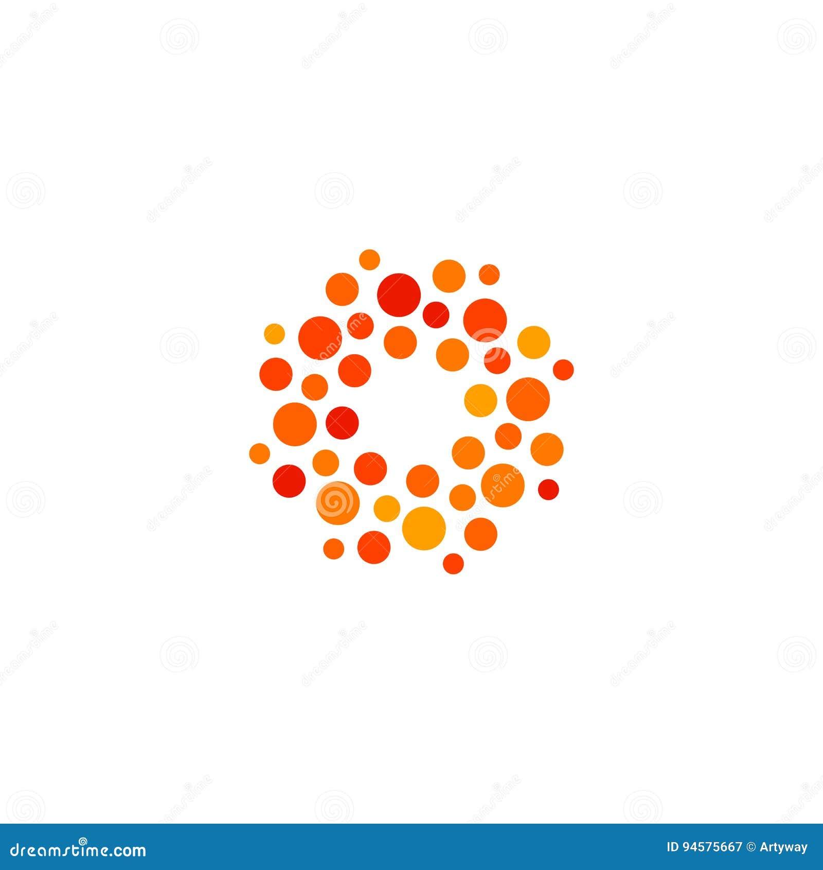 Απομονωμένο αφηρημένο στρογγυλό λογότυπο πορτοκαλιού και κόκκινου χρώματος μορφής, διαστιγμένος τυποποιημένος ήλιος logotype στο