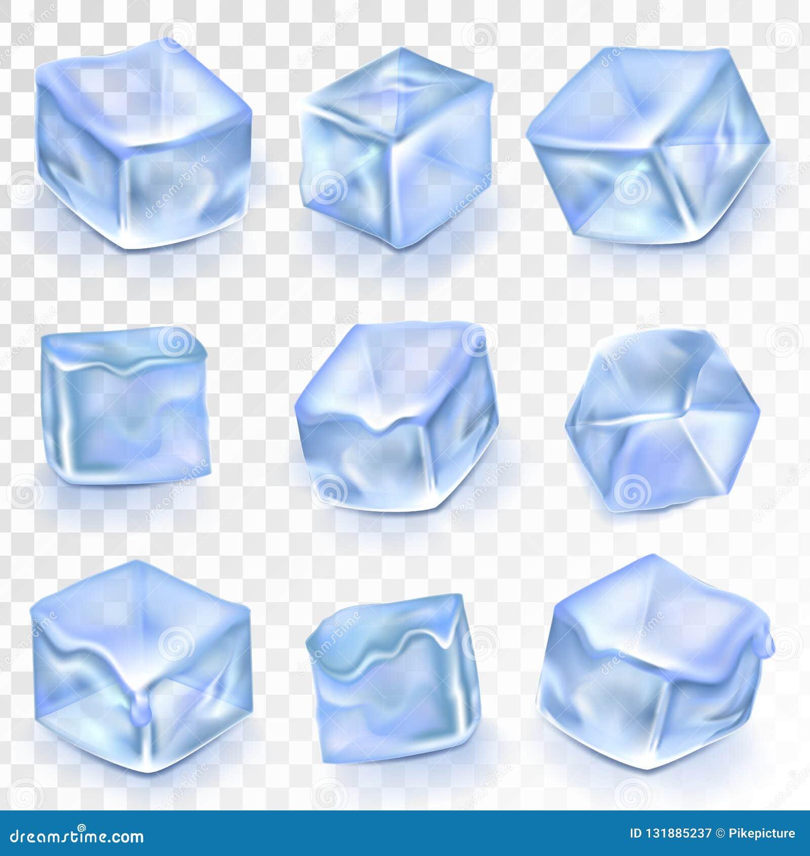 Απομονωμένο διάνυσμα Transpatrent πάγου κύβοι Επίδραση σχεδίου παγώματος παγετού Καθαρό κρύο κρύσταλλο Ρεαλιστικοί μπλε φραγμοί ν
