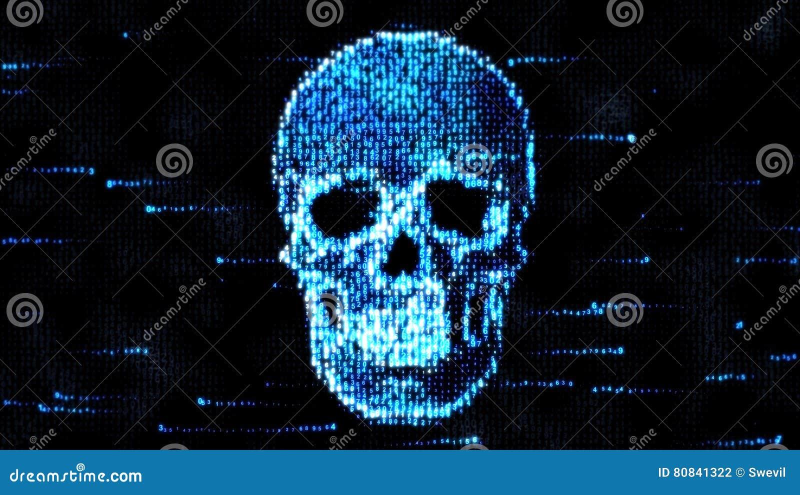 απομονωμένο λευκό ασφάλειας ανασκόπησης έννοια Κρανίο του δυαδικού κώδικα Πειρατεία στο διαδίκτυο