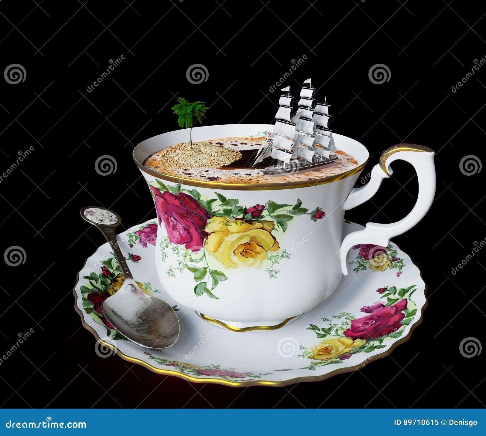 απομονώστε ακόμα τη ζωή με το φλυτζάνι καφέ και τη στενή επάνω φωτογραφία διακοπών χαλάρωσης έννοιας βαρκών παιχνιδιών