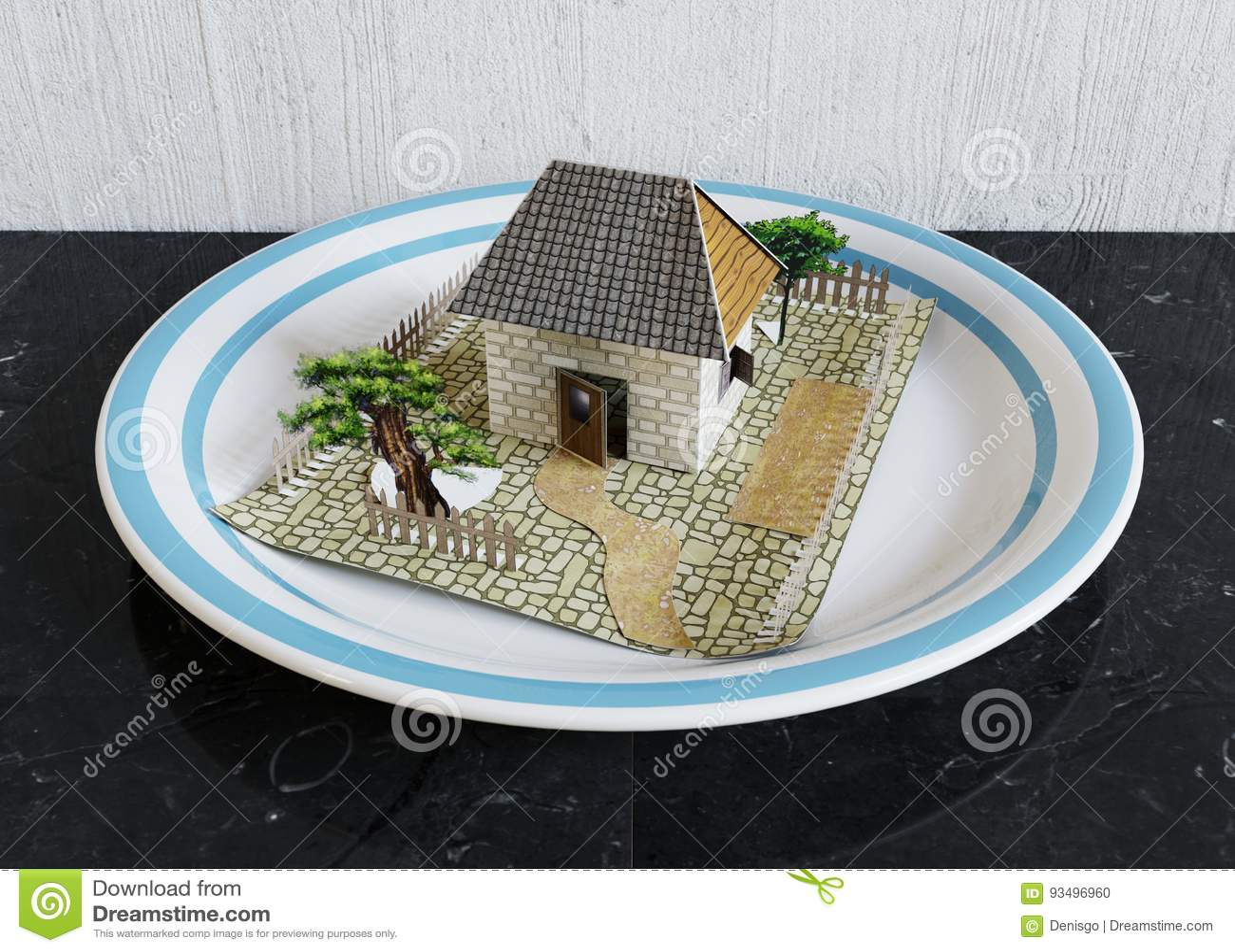απομονώστε το σπίτι στο πιάτο με την μπλε επιχειρησιακή έννοια ακίνητων περιουσιών συνόρων