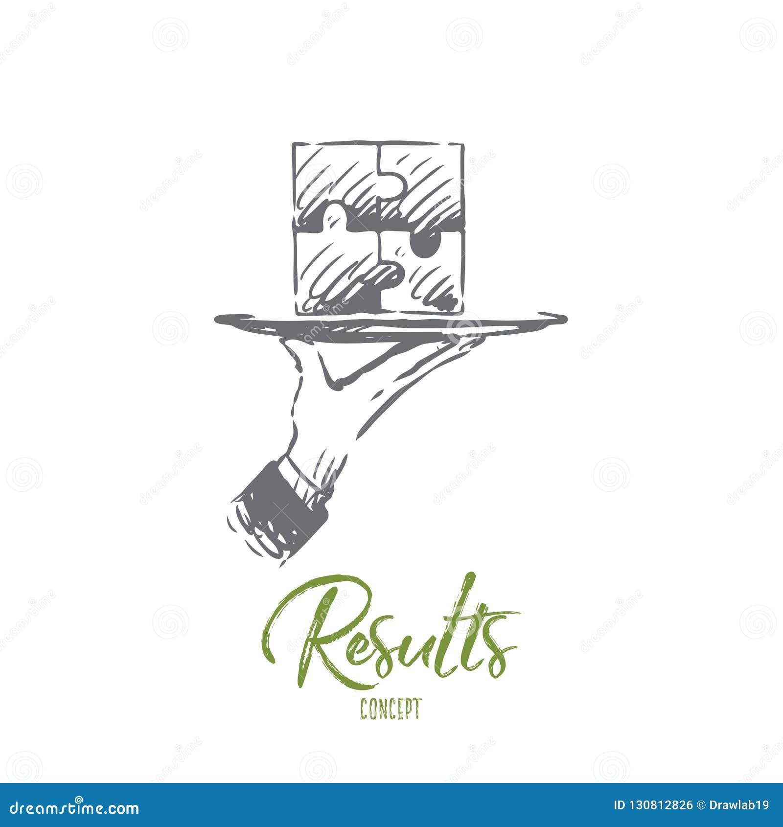 Αποτελέσματα, γρίφος, σύνδεση, λύση, έννοια ομαδικής εργασίας Συρμένο χέρι απομονωμένο διάνυσμα