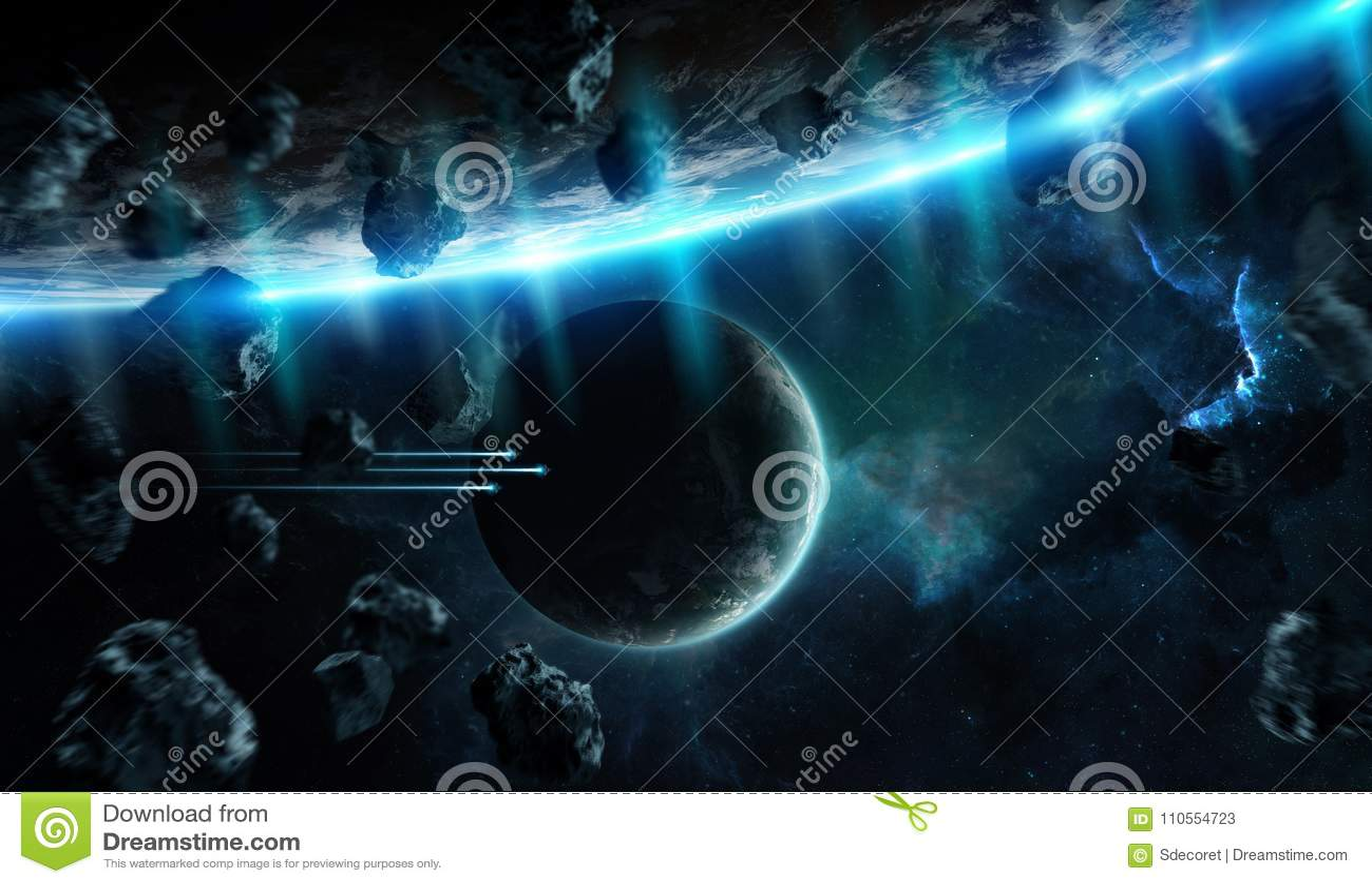 Απόμακρο σύστημα πλανητών στο διάστημα με την τρισδιάστατη απόδοση exoplanets elem