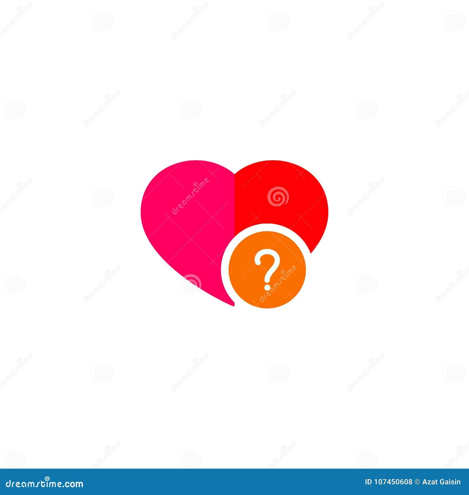 Από ένα εικονίδιο καρδιών με ένα σημάδι ερώτησης