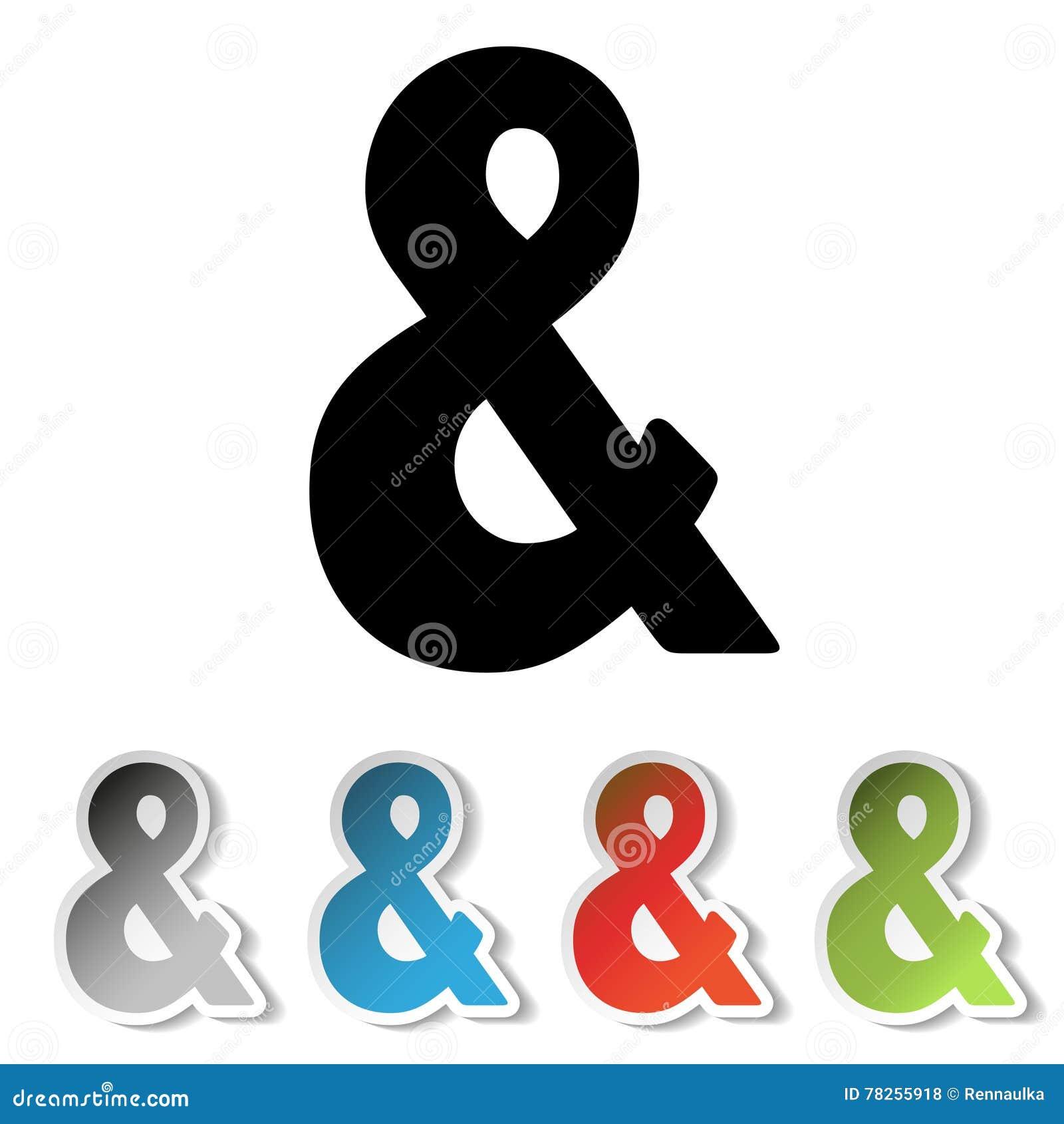 Απλό μαύρο σύμβολο ampersand και γκρίζες, μπλε, κόκκινες, πράσινες αυτοκόλλητες ετικέττες με το σημάδι &
