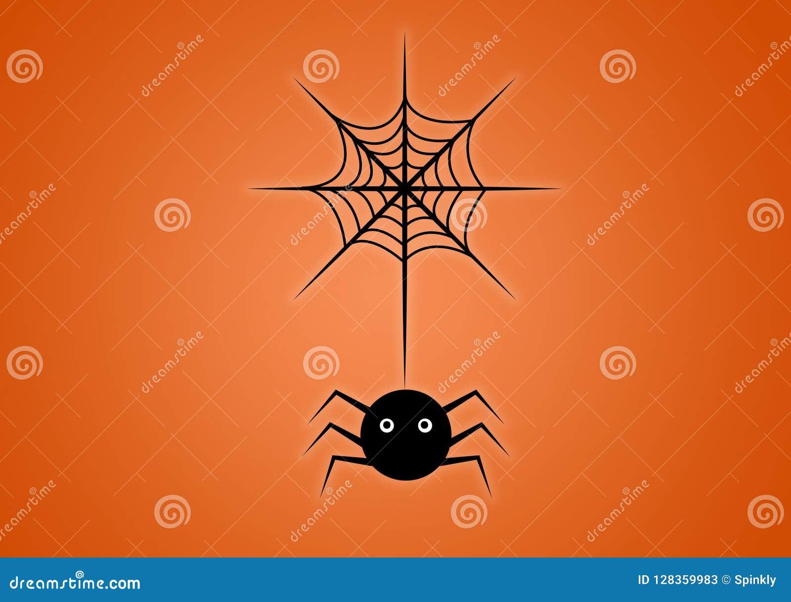 Αράχνη στον Ιστό που διευκρινίζεται ψηφιακά στο πορτοκαλί υπόβαθρο