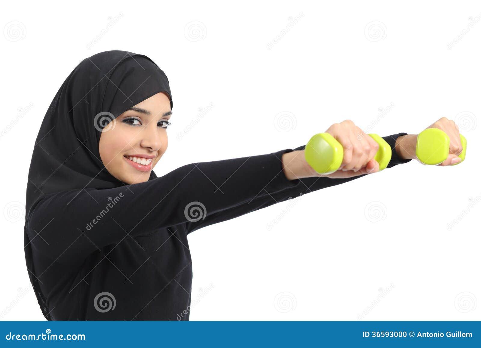 Αραβικός αθλητισμός άσκησης γυναικών ικανότητας που κάνει τα βάρη