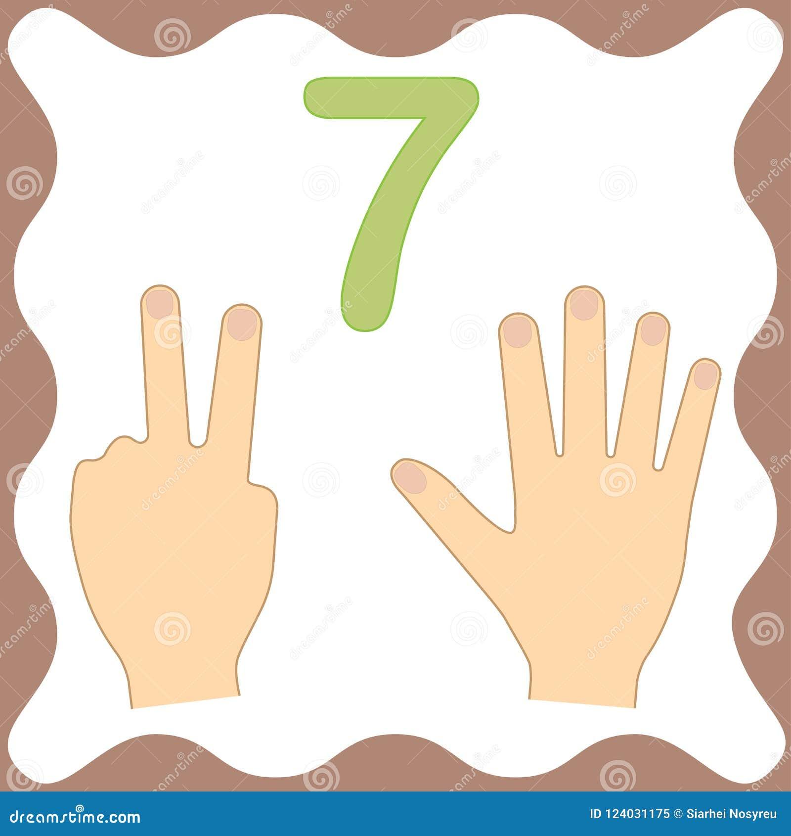 Αριθμός 7 επτά, εκπαιδευτική κάρτα, υπολογισμός εκμάθησης με τα δάχτυλα