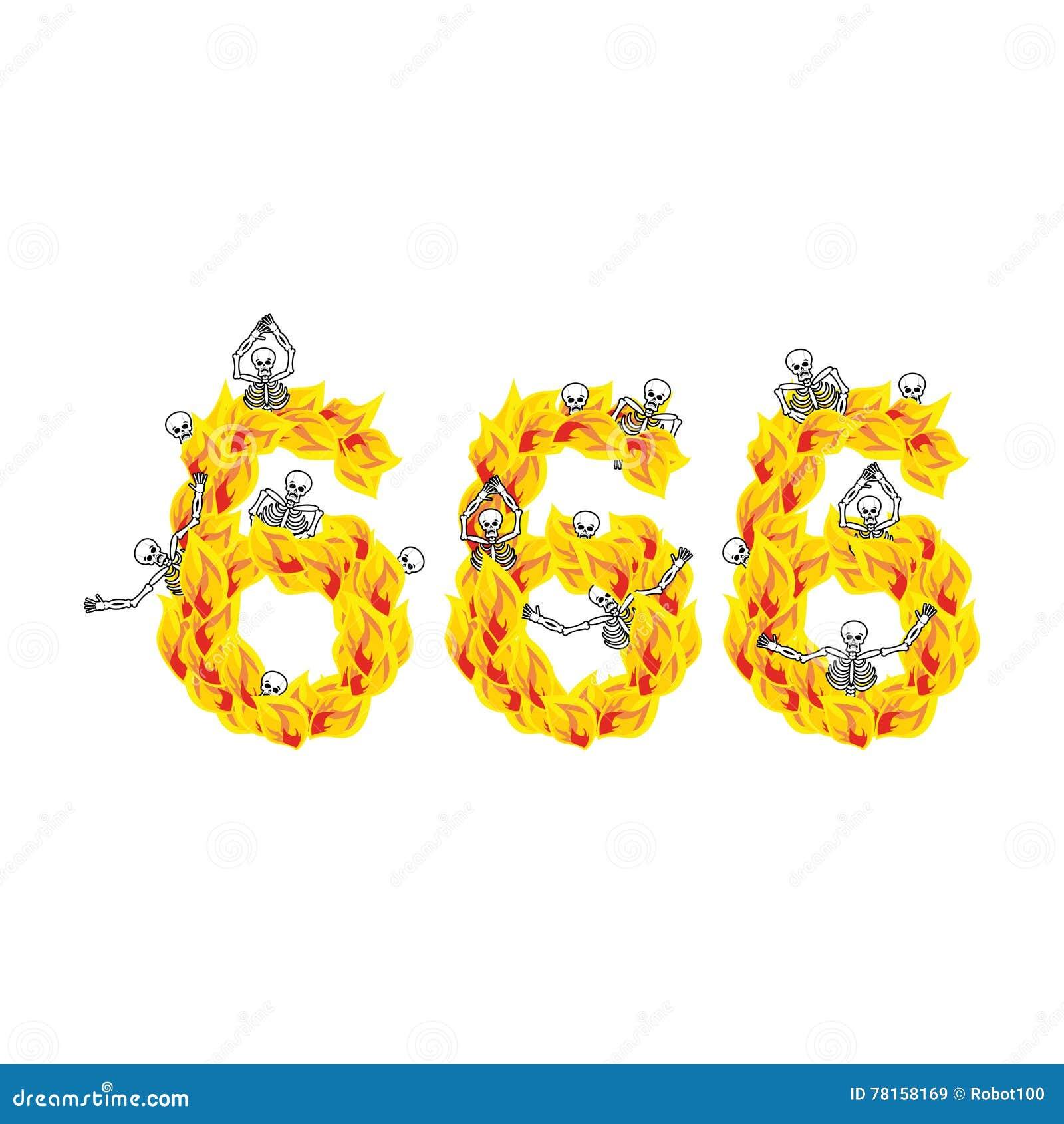666 αριθμός διαβόλου Πυρκαγιά αριθμητική Σκελετοί στην κόλαση αμαρτωλοί
