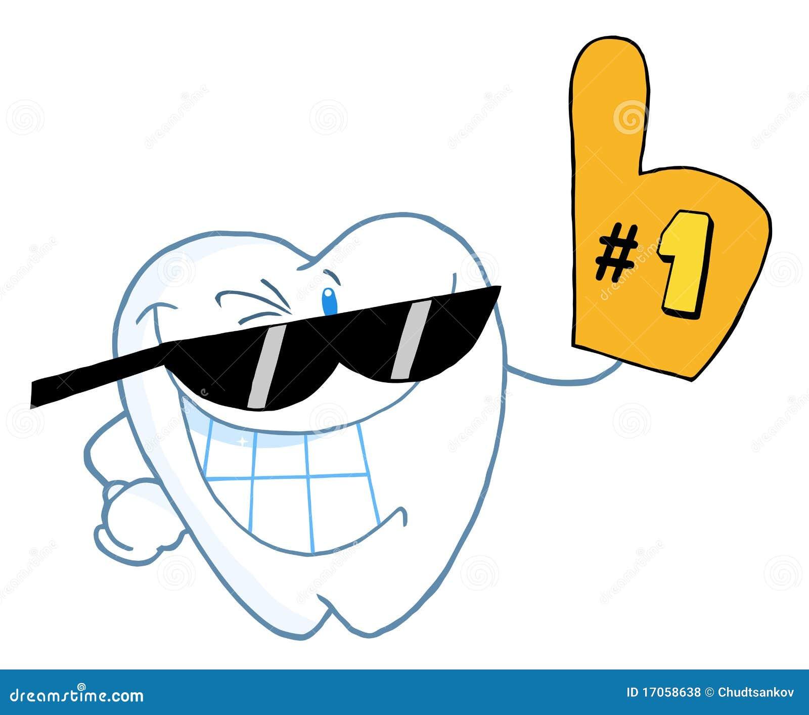 Αριθμός χαρακτήρα κινουμένων σχεδίων δοντιών χαμόγελου ένας