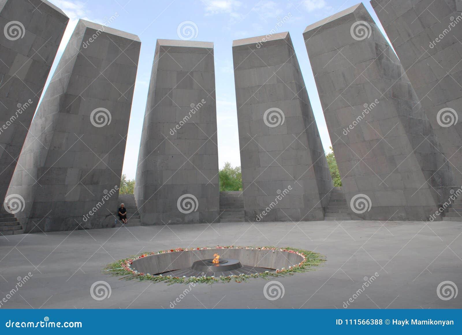 Αρμενικός αναμνηστικός ο σύνθετος γενοκτονίας στο λόφο Tsitsernakaberd σε Jerevan, Αρμενία