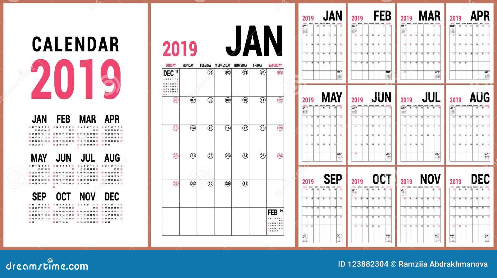 Αρμόδιος για το σχεδιασμό 2019 Αγγλικό ημερολογιακό πρότυπο Διανυσματικό ημερολογιακό πλέγμα Ο