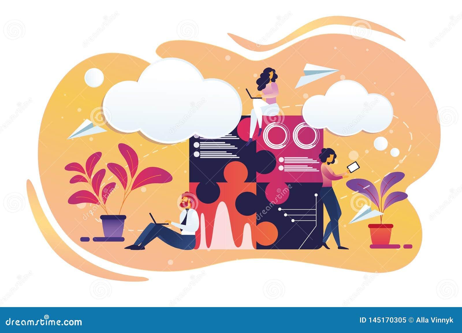 Αρσενική και θηλυκή εργασία χαρακτήρων Businesspeople