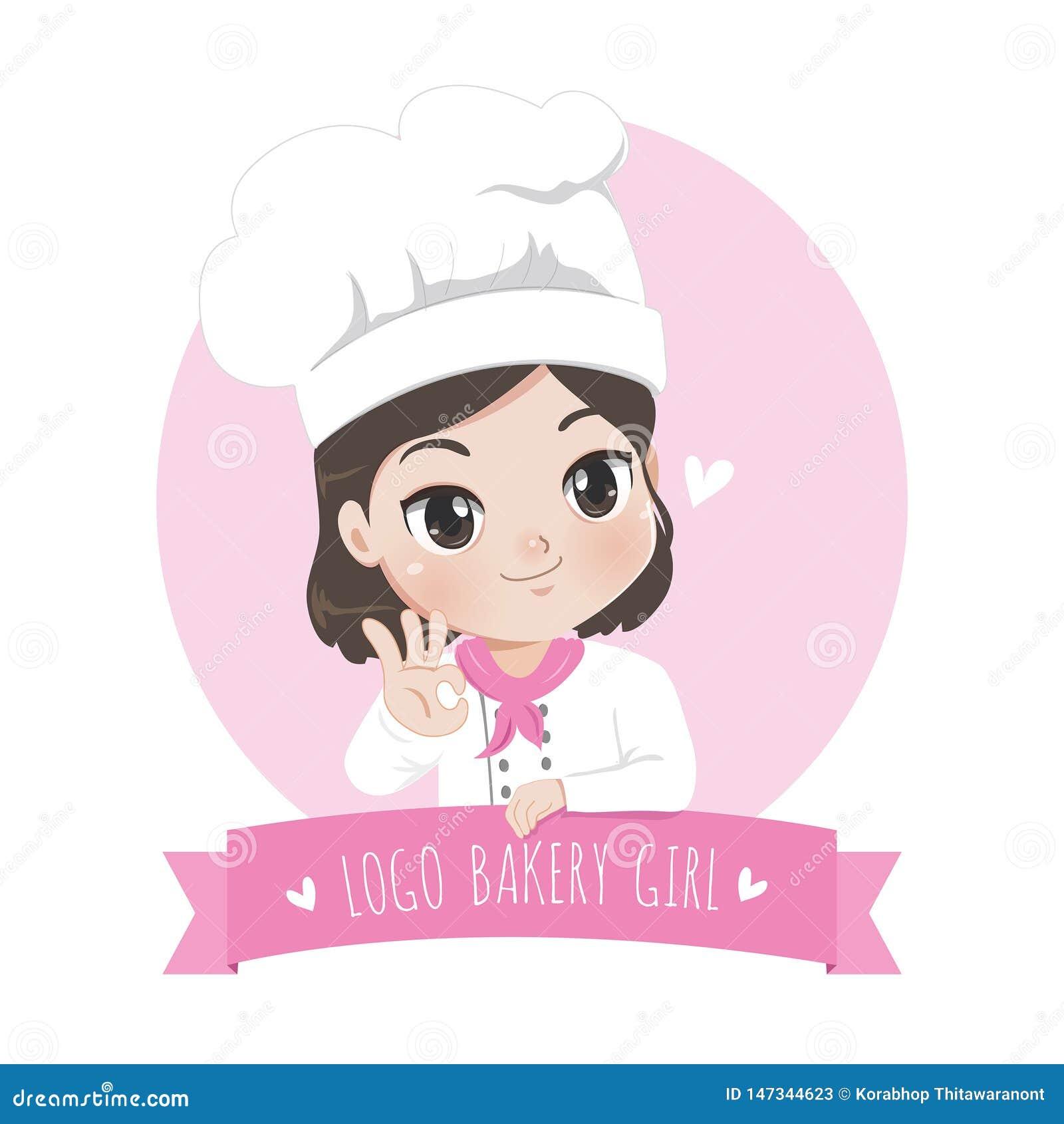 Αρτοποιείο μικρών κοριτσιών λογότυπων και επιδόρπιο και γλυκό χαμόγελο