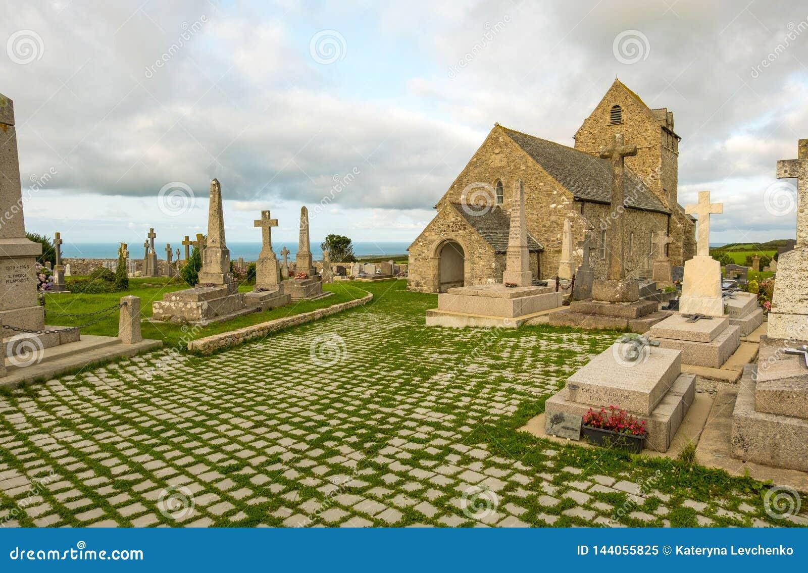 Αρχαία εκκλησία Notre-Dame de Jobourg και Λα Χάγη, Νορμανδία, Γαλλία νεκροταφείων