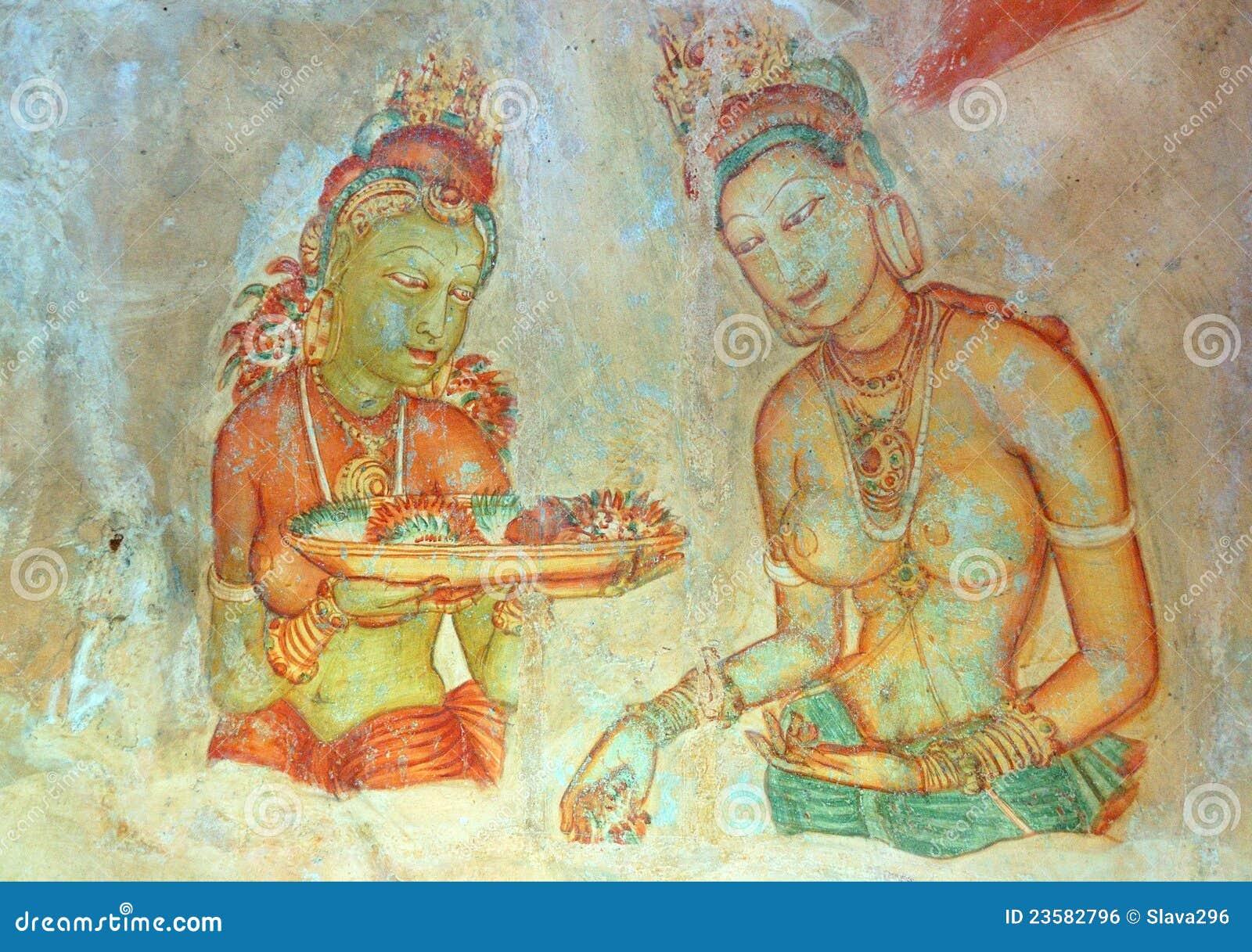 αρχαία ζωγραφική νυμφών apsara ουράνια