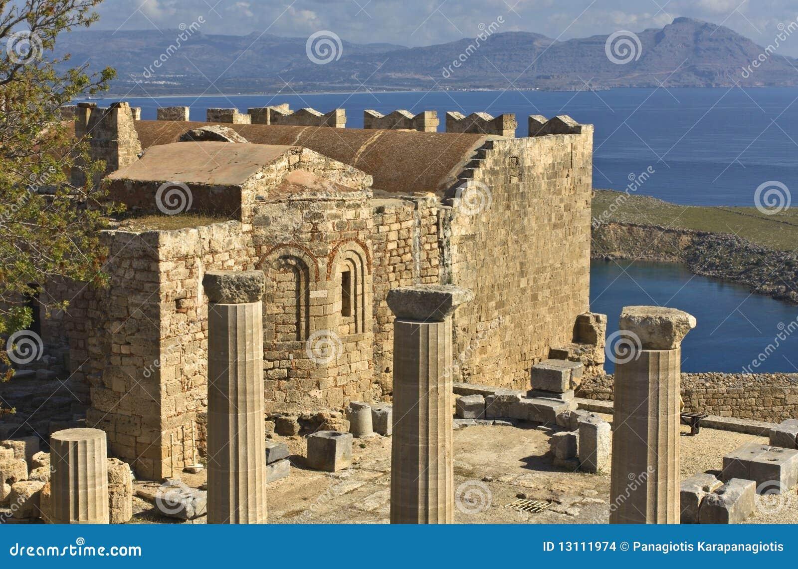 αρχαία Lindos Ρόδος ακρόπολη Στοκ Εικόνες - εικόνα από αντίθεσης ...