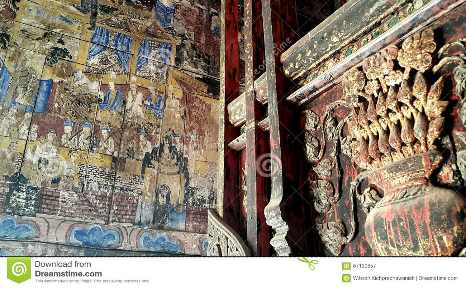 Αρχαία Mural ζωγραφική σε Lampang, Ταϊλάνδη