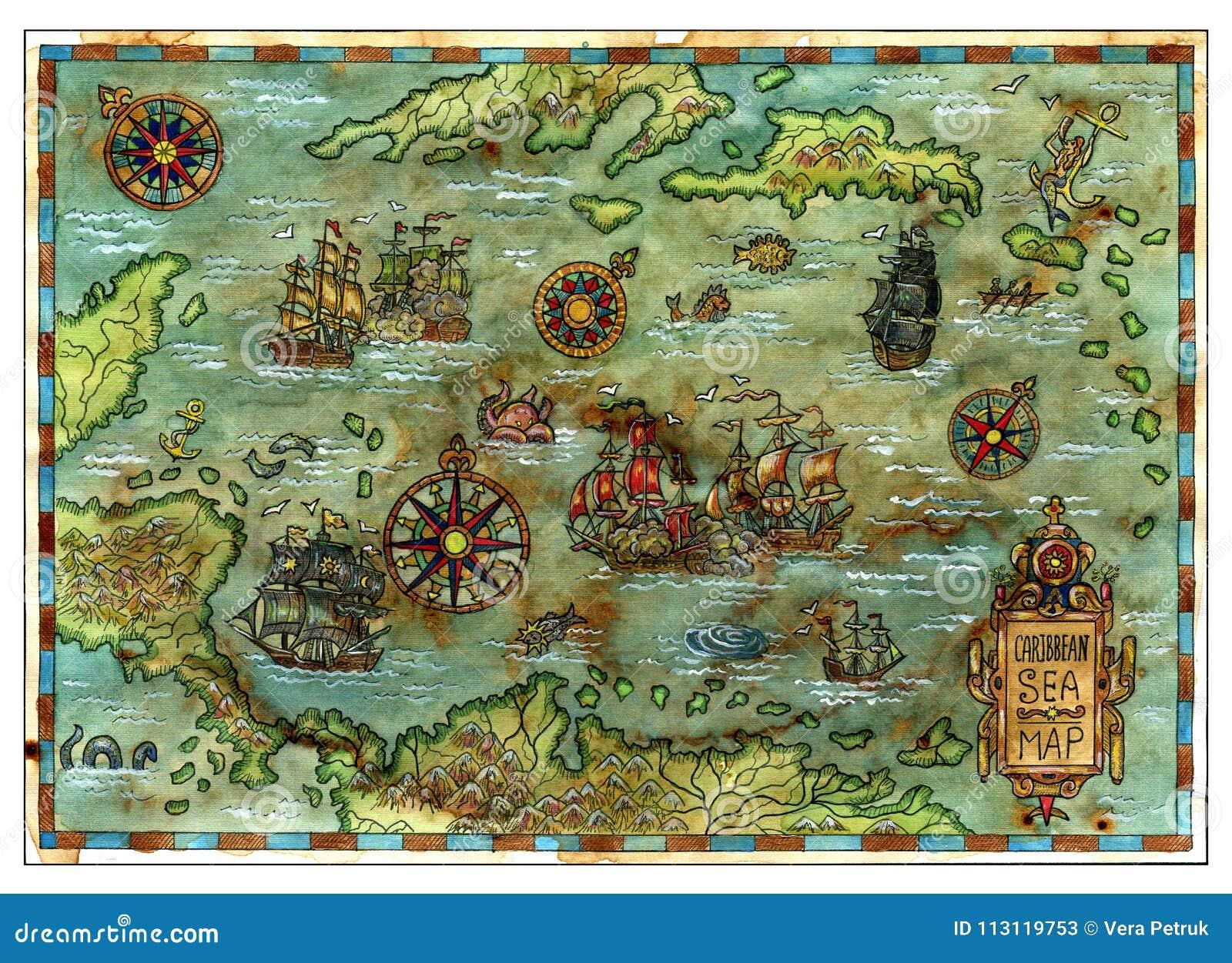Αρχαίος καραϊβικός χάρτης θάλασσας με τα σκάφη και τα νησιά πειρατών