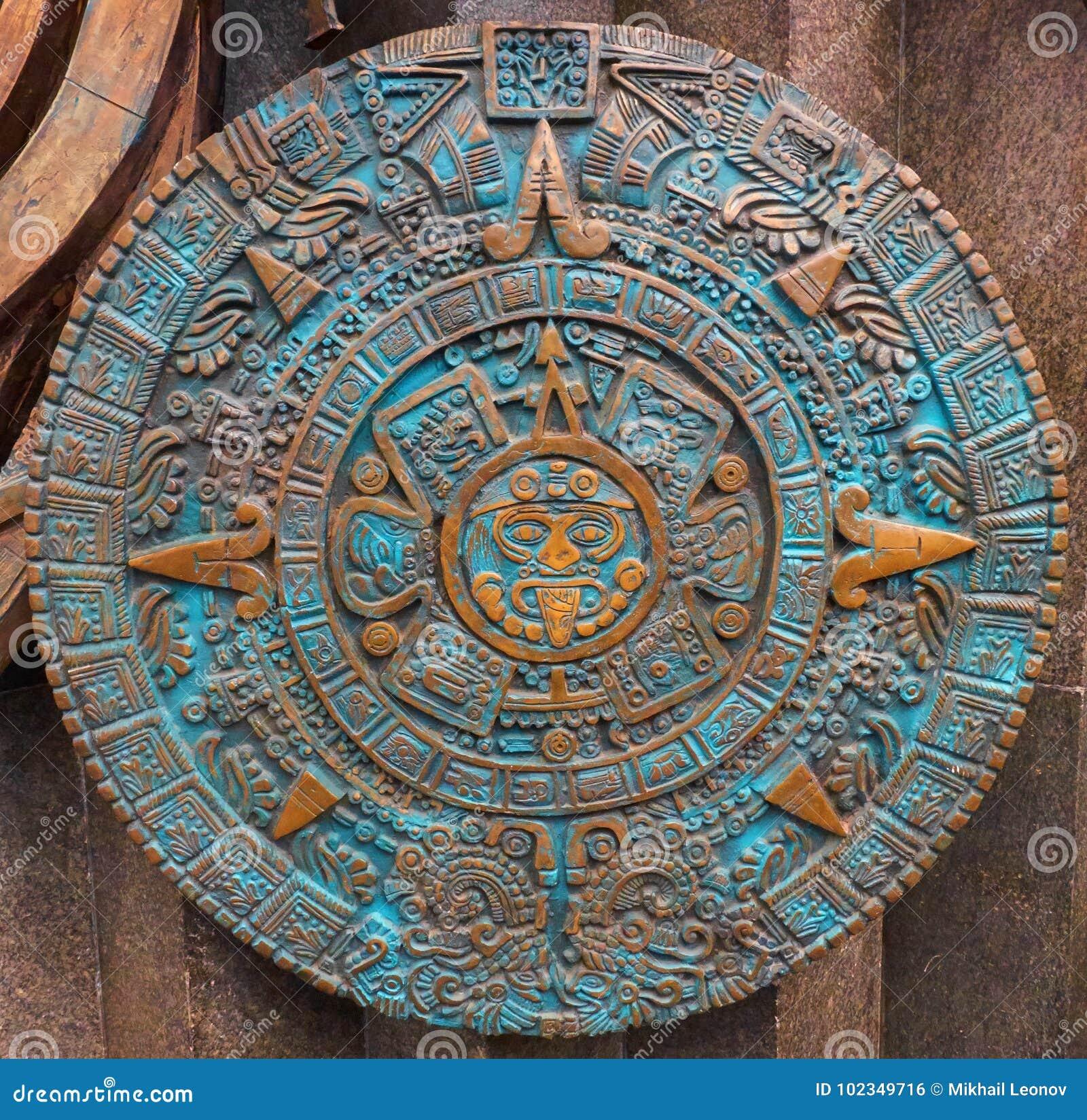 Αρχαίο παλαιό κλασσικό των Αζτέκων ημερολόγιο χαλκού γύρω από το υπόβαθρο σχεδίου διακοσμήσεων σχεδίων διακοσμήσεων Των Αζτέκων α