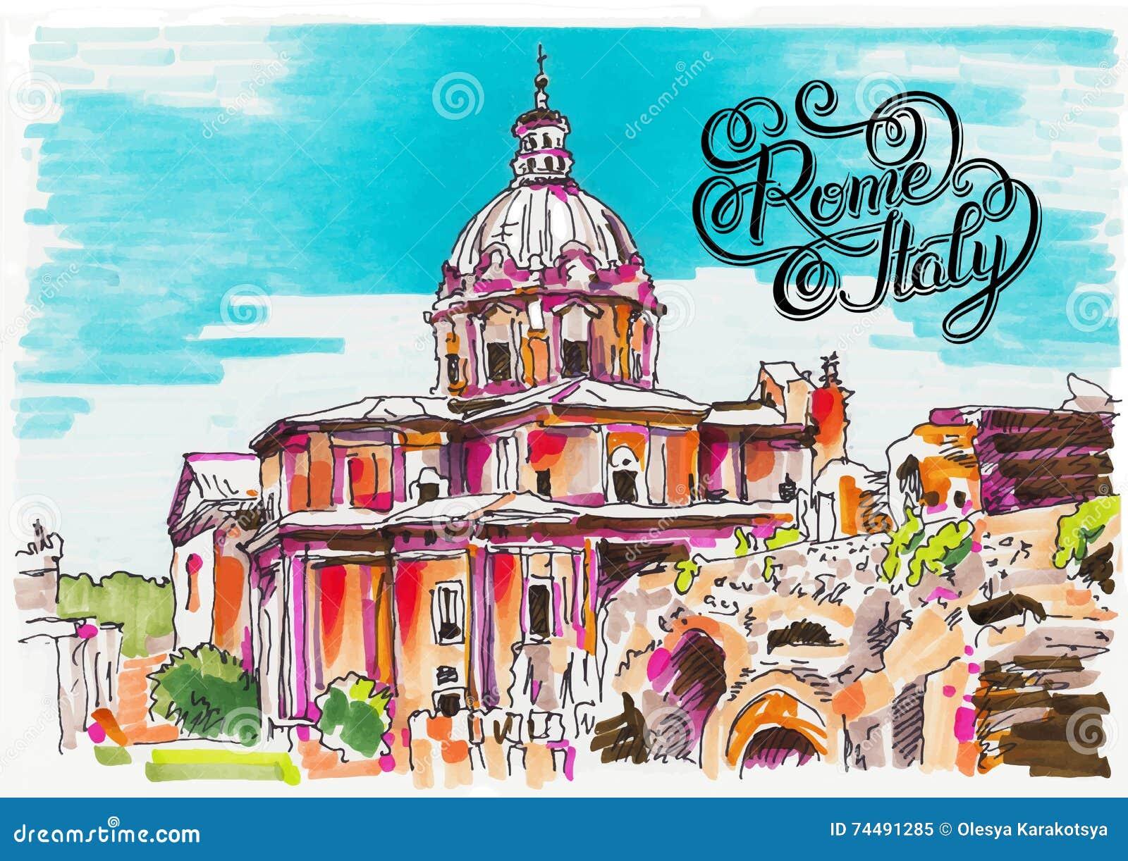 Αρχική ζωγραφική δεικτών της εικονικής παράστασης πόλης της Ρώμης Ιταλία με το χέρι lette