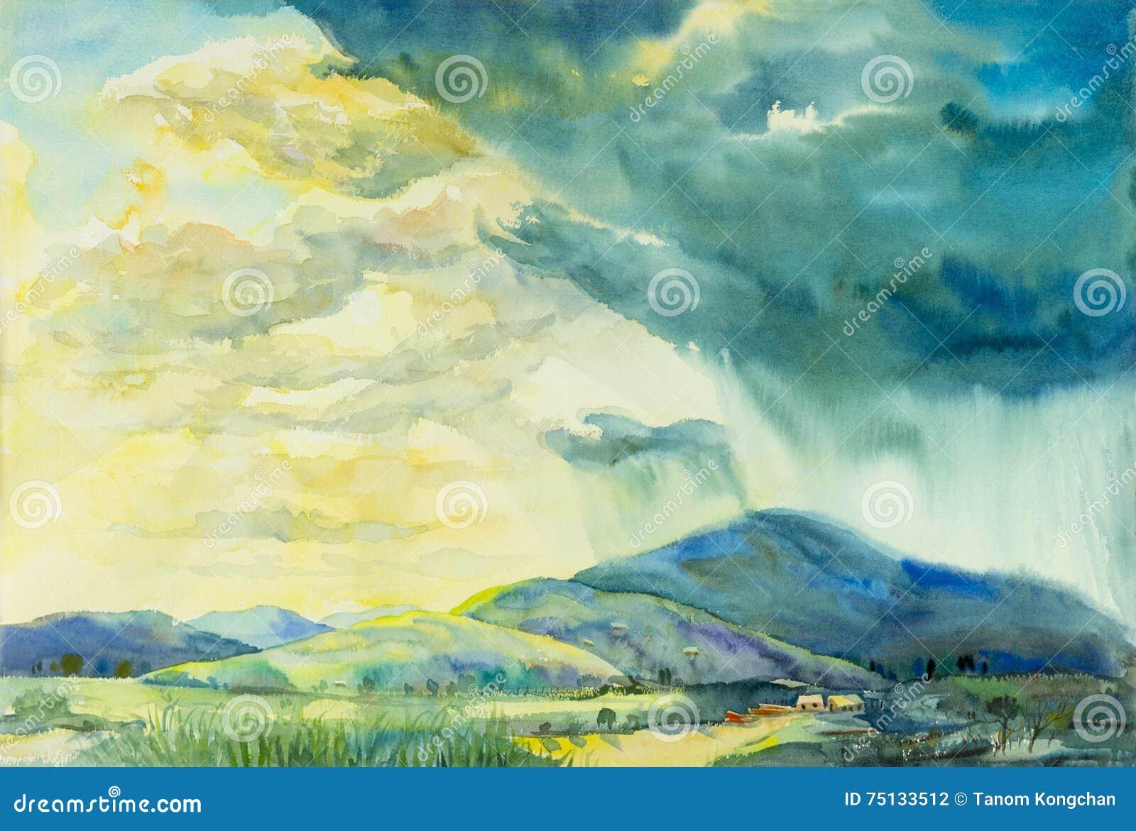 Αρχική ζωγραφική τοπίων Watercolor ζωηρόχρωμη της ηλιόλουστης βροχής