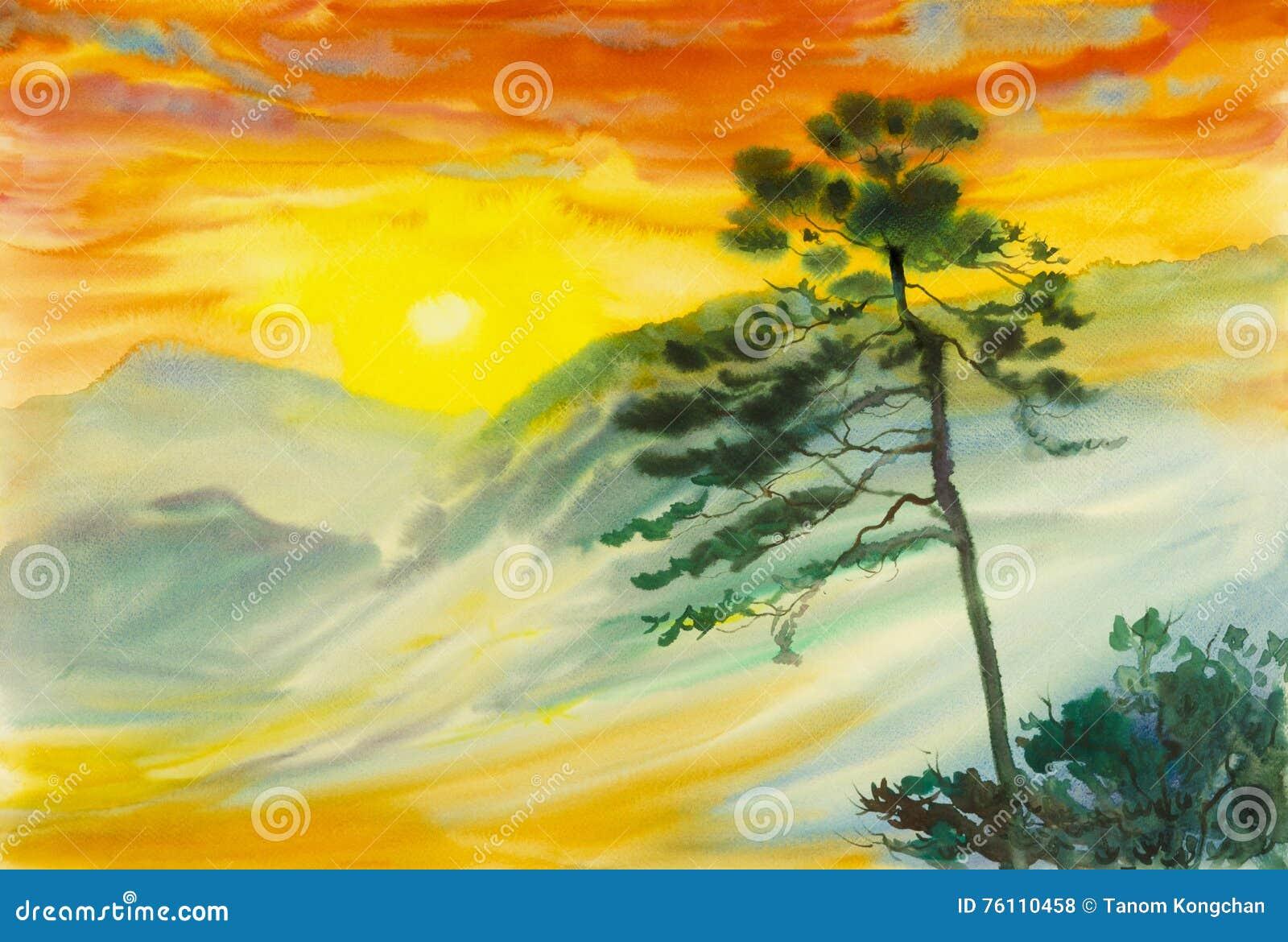 Αρχική ζωγραφική τοπίων Watercolor ζωηρόχρωμη του ήλιου, ομίχλη, βουνό