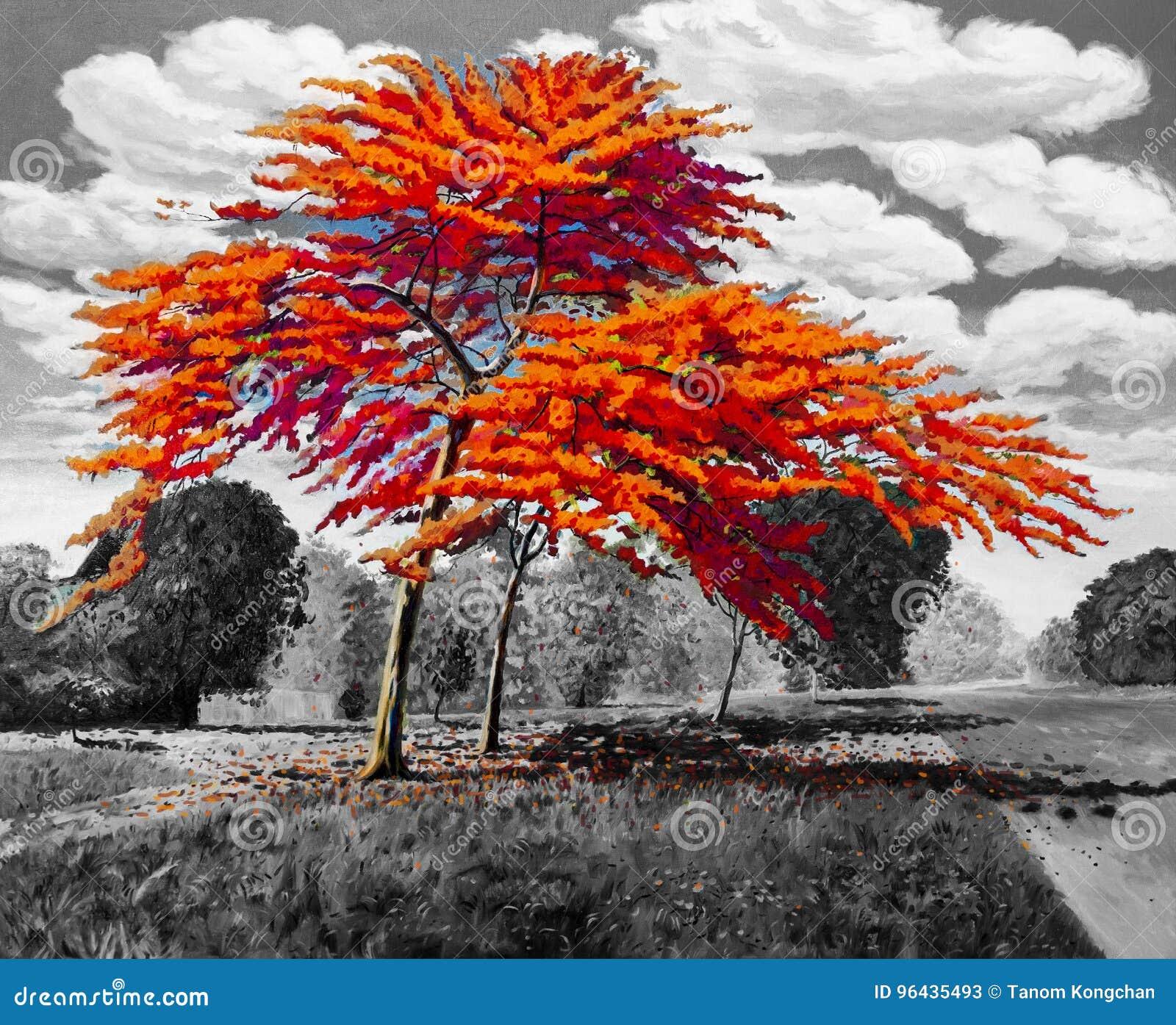 Αρχικό κόκκινο πορτοκαλί χρώμα τοπίων ελαιογραφίας Peacock
