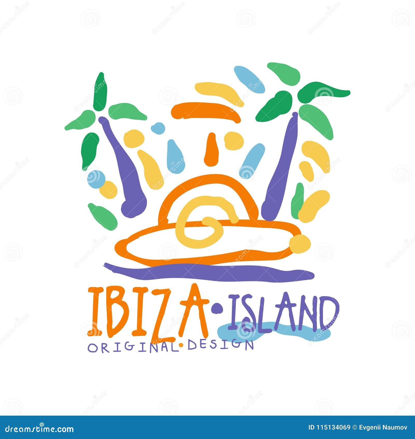 Αρχικό σχέδιο προτύπων λογότυπων νησιών Ibiza, εξωτικό διακριτικό καλοκαιρινών διακοπών, ετικέτα για ένα ταξιδιωτικό γραφείο, στο